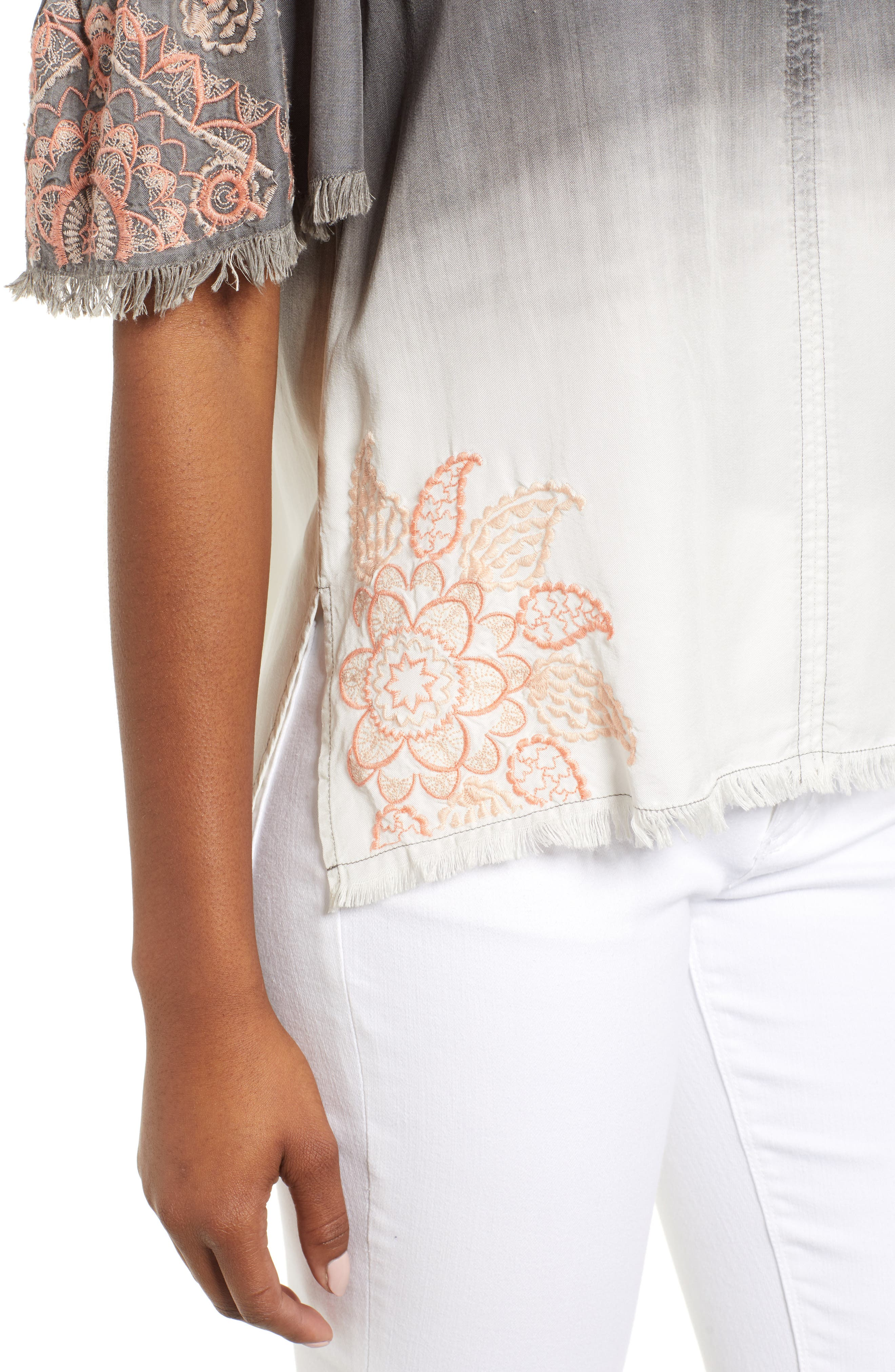 Dip Dye Embroidered Cold Shoulder Blouse,                             Alternate thumbnail 4, color,                             GREY WHITE EMBROIDER