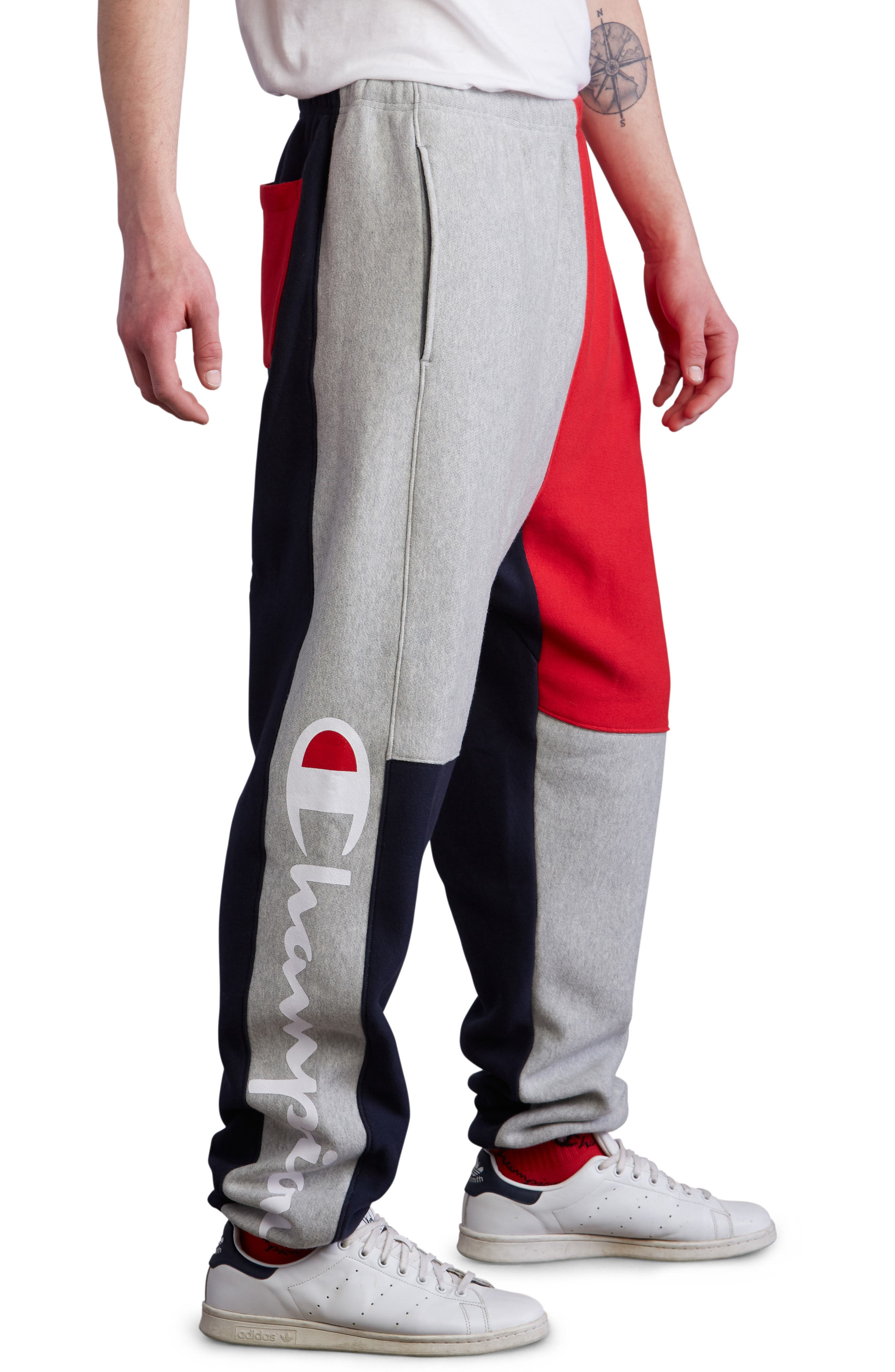 Colorblock Sweatpants,                             Alternate thumbnail 3, color,                             NAVY/ OXFORD GREY/ SCARLET