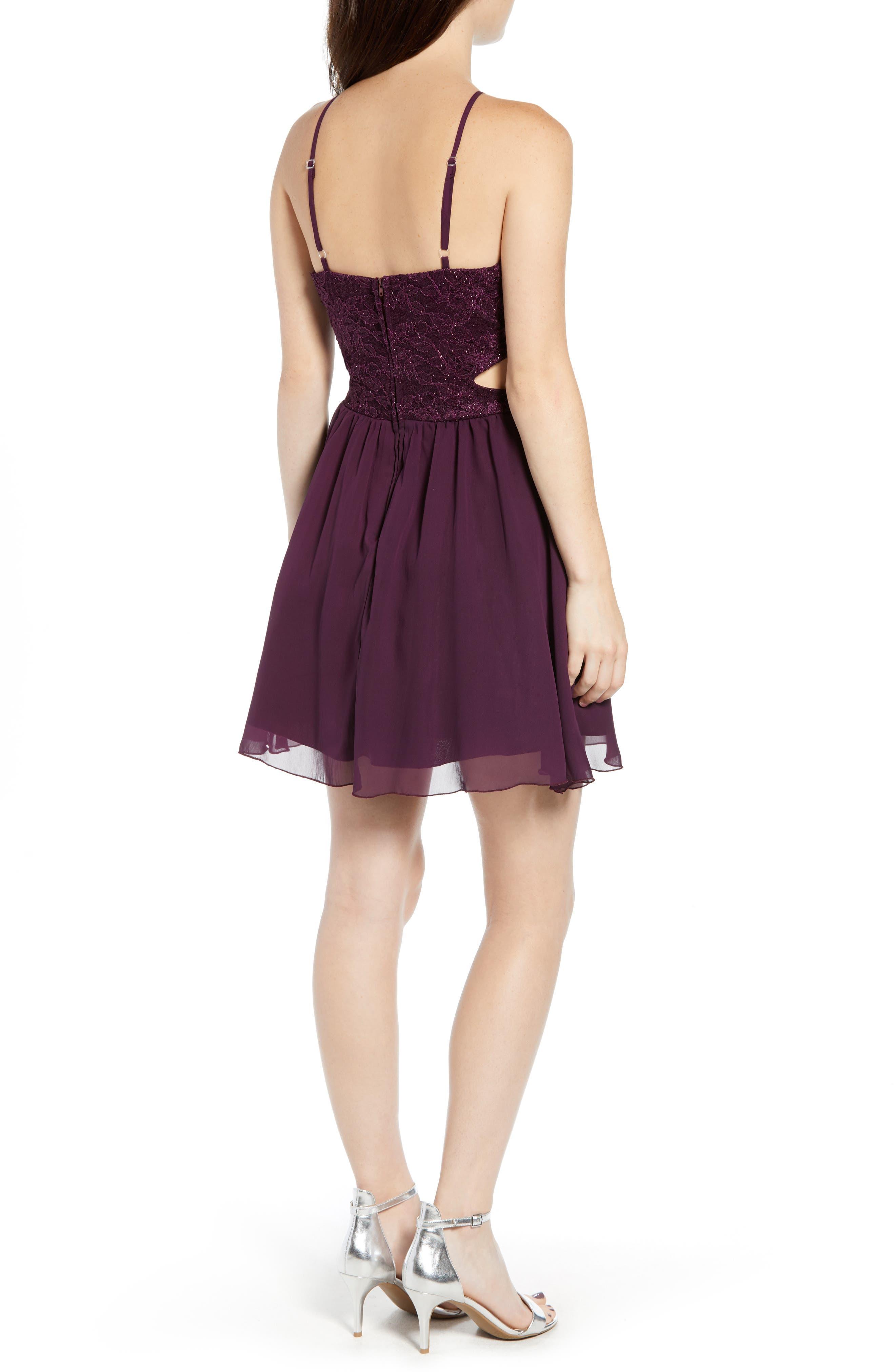 Lace Halter Dress,                             Alternate thumbnail 2, color,                             BERRY WINE