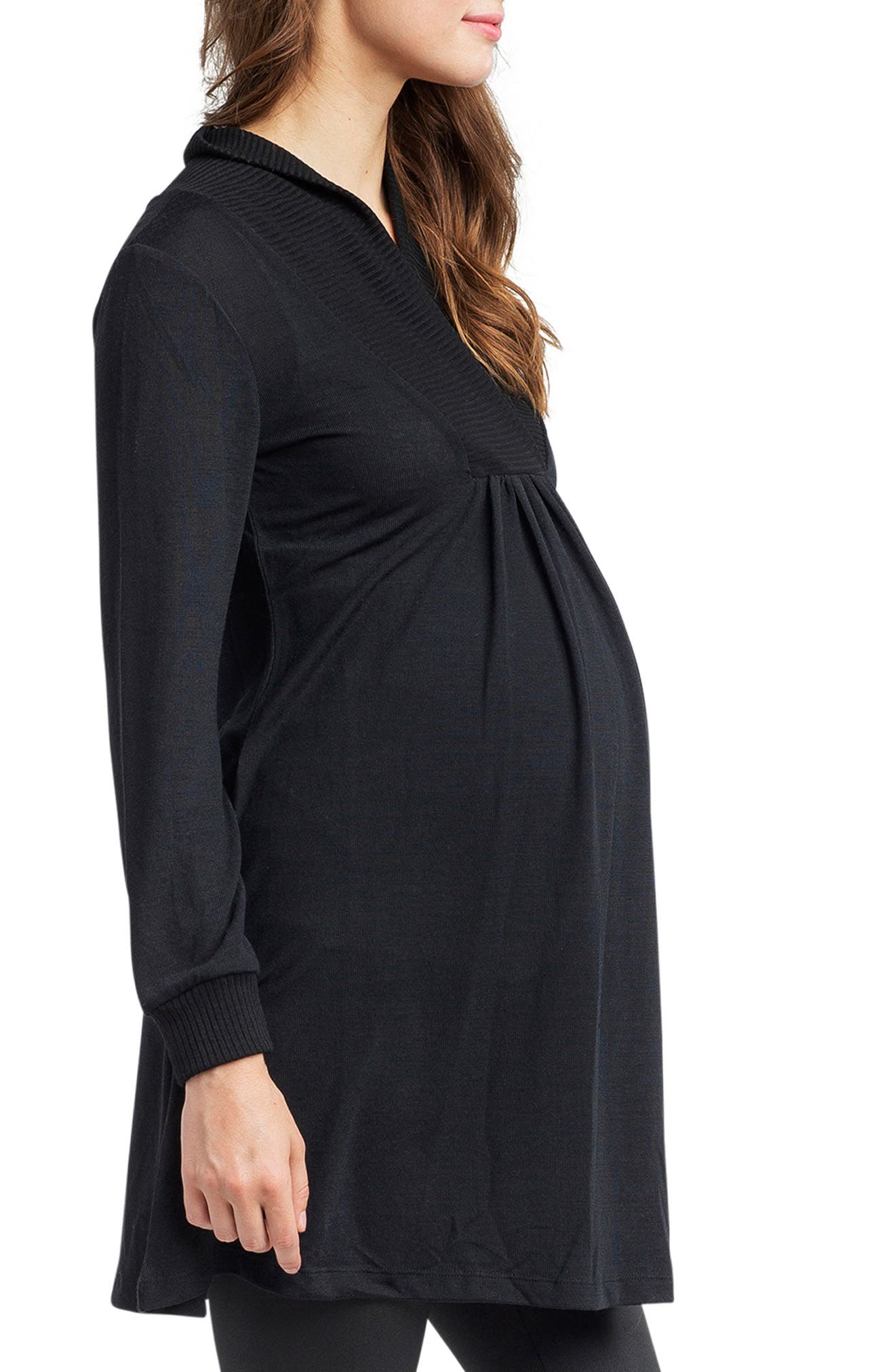 'Tanya' Jersey Maternity Tunic,                             Alternate thumbnail 4, color,                             BLACK