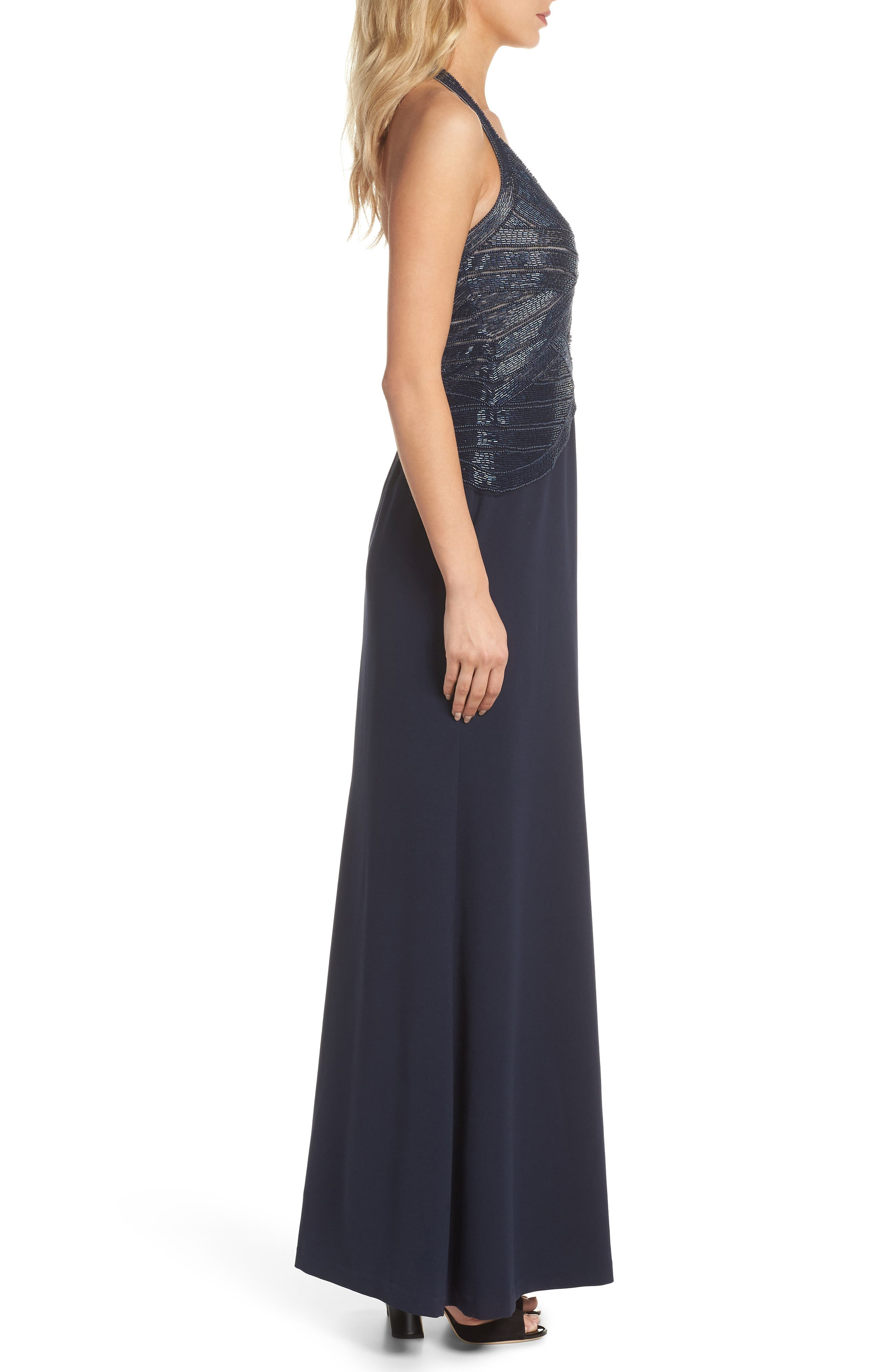 Beaded Halter Gown,                             Alternate thumbnail 3, color,                             410