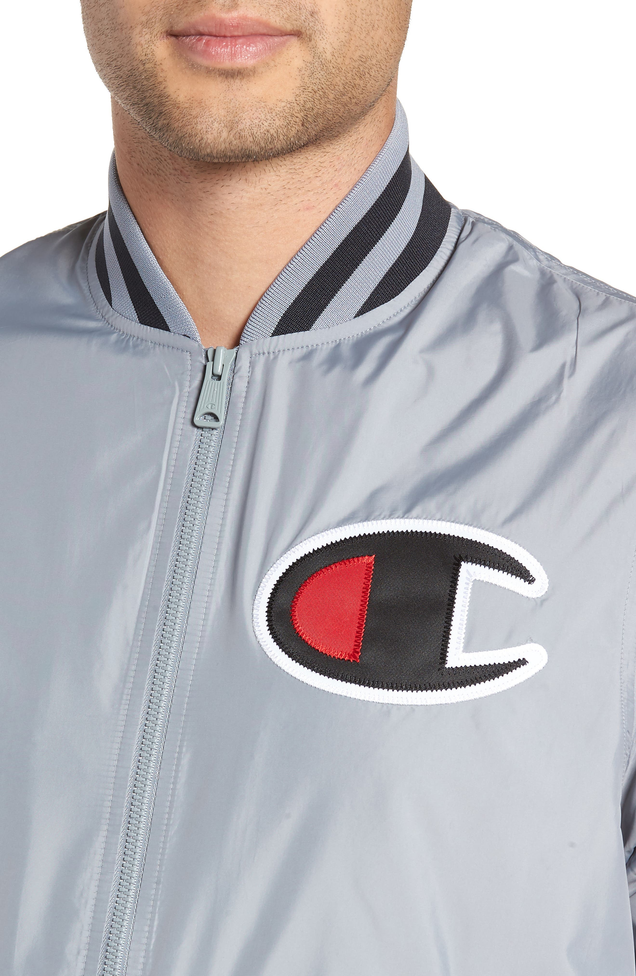 Satin Baseball Jacket,                             Alternate thumbnail 4, color,                             030