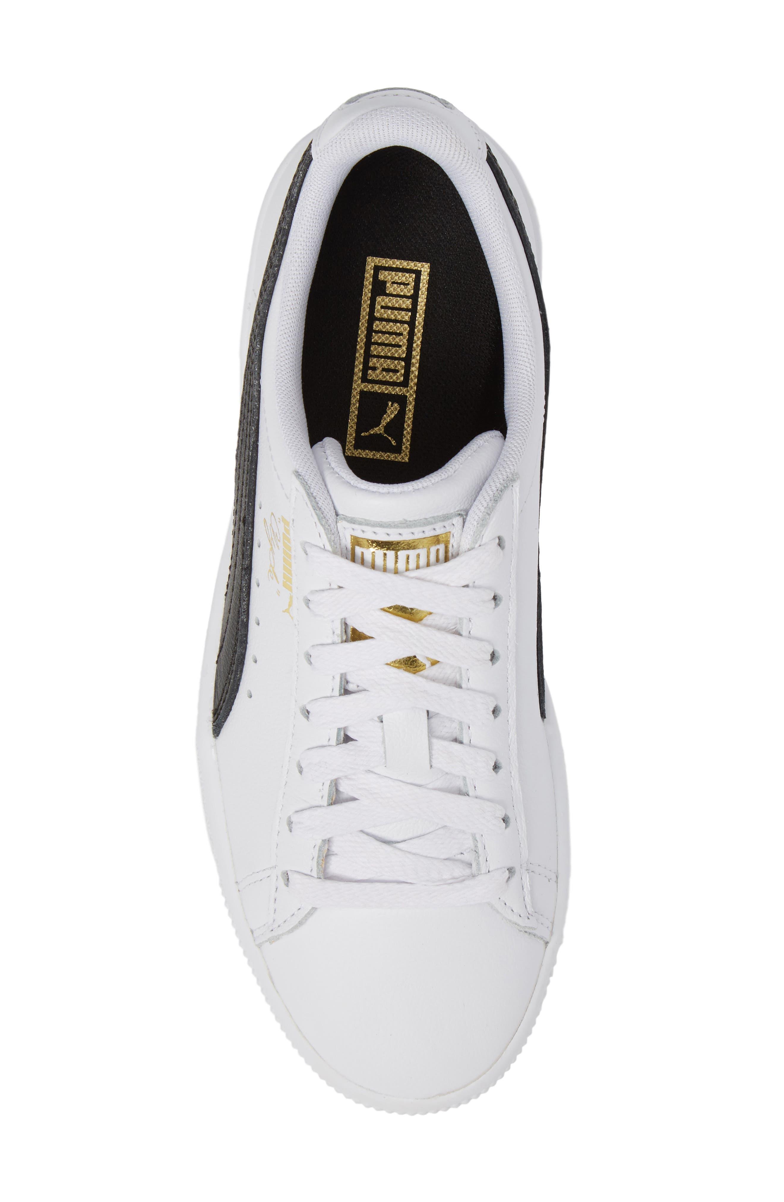 Clyde Sneaker,                             Alternate thumbnail 5, color,                             WHITE/ BLACK/ GOLD