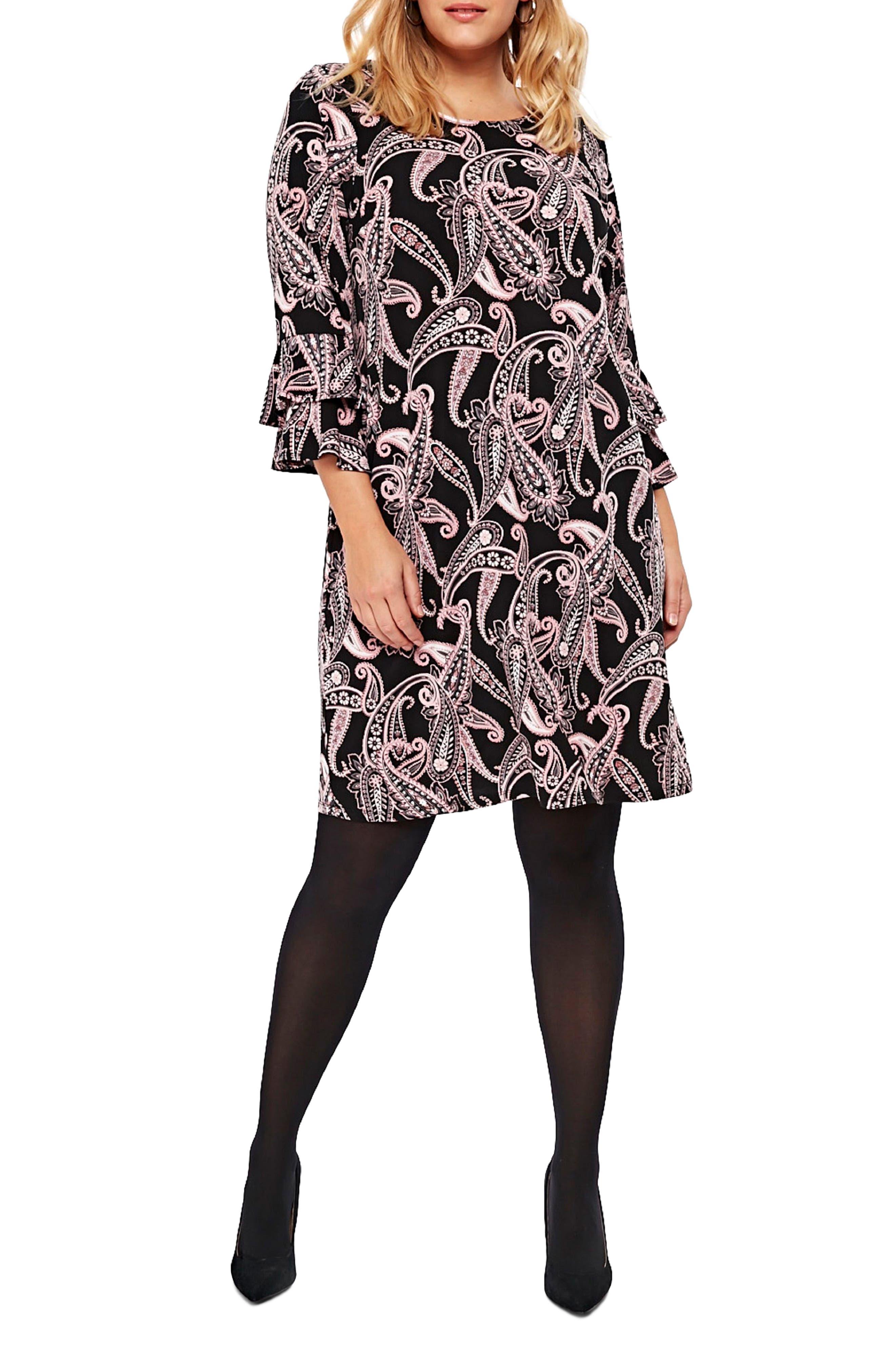 Paisley Fluted Sleeve Dress,                             Main thumbnail 1, color,                             001