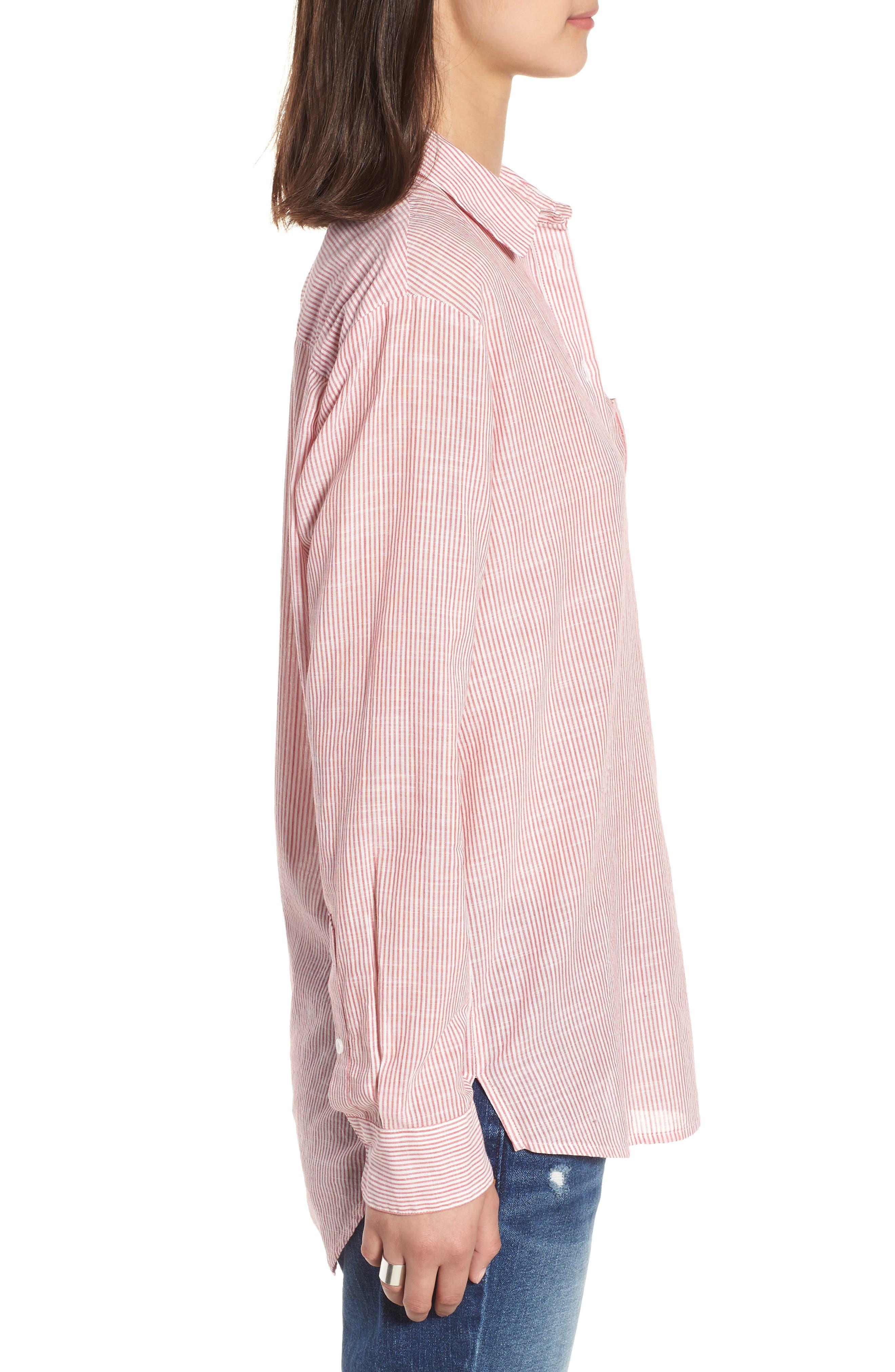 Stripe Oversize Ex-Boyfriend Shirt,                             Alternate thumbnail 3, color,                             600