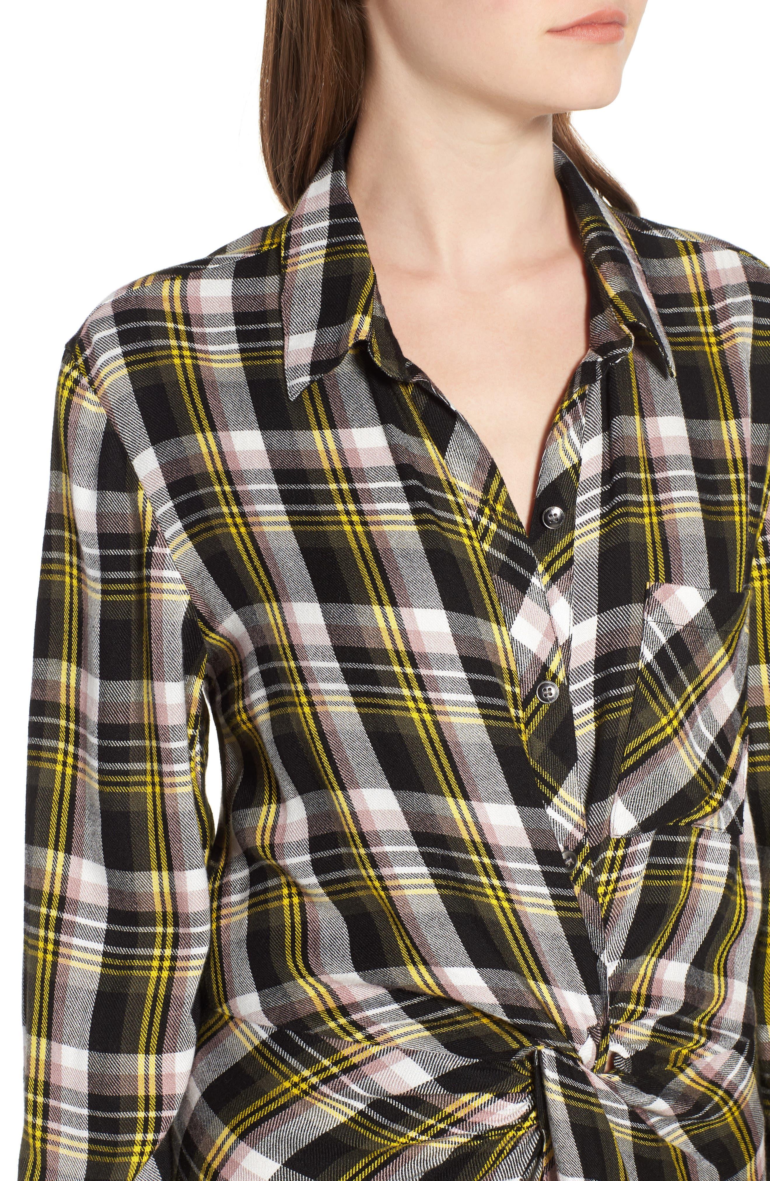 Twist Front Plaid Shirtdress,                             Alternate thumbnail 4, color,                             001