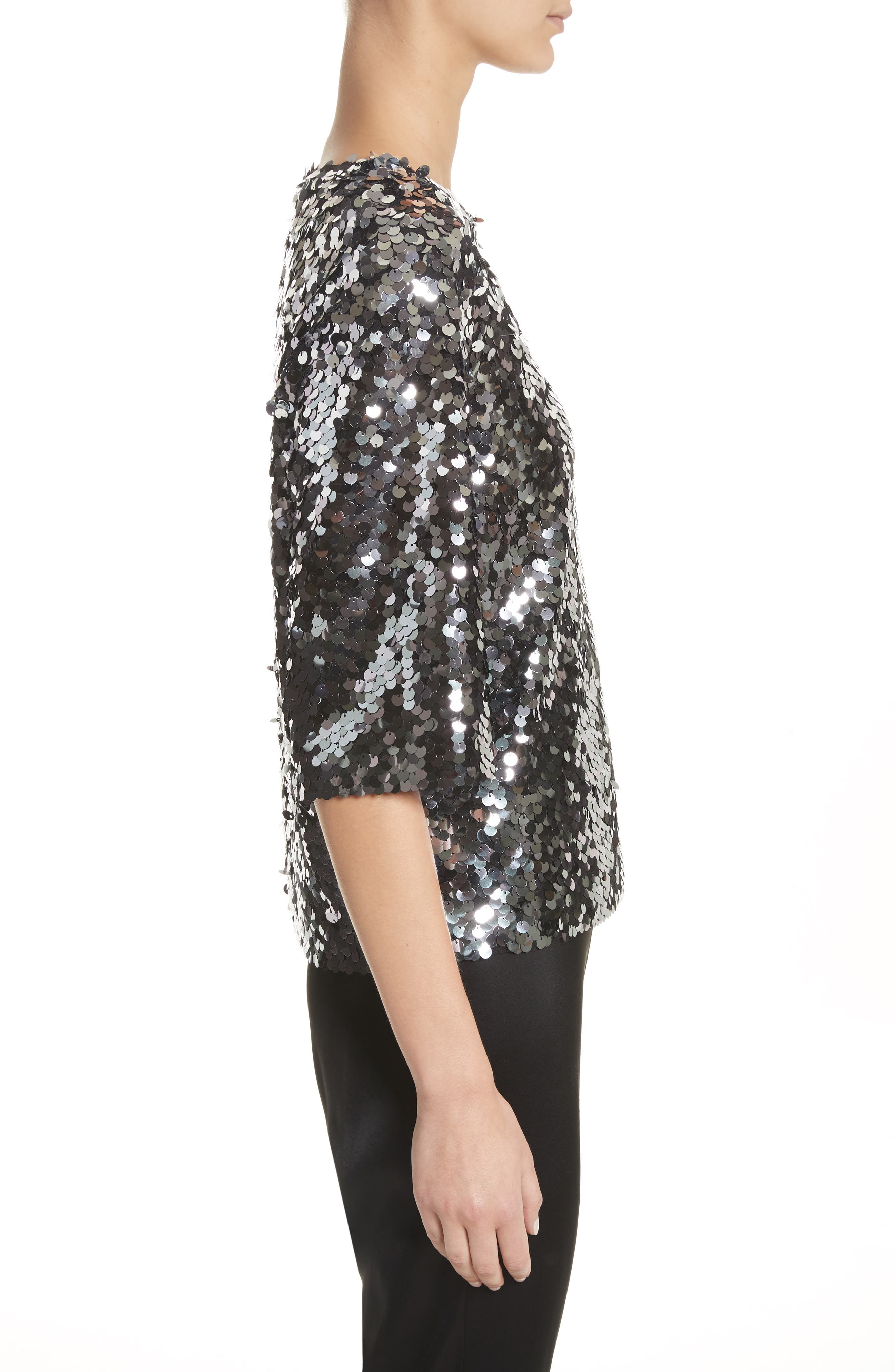 Sequin Tulle Top,                             Alternate thumbnail 3, color,