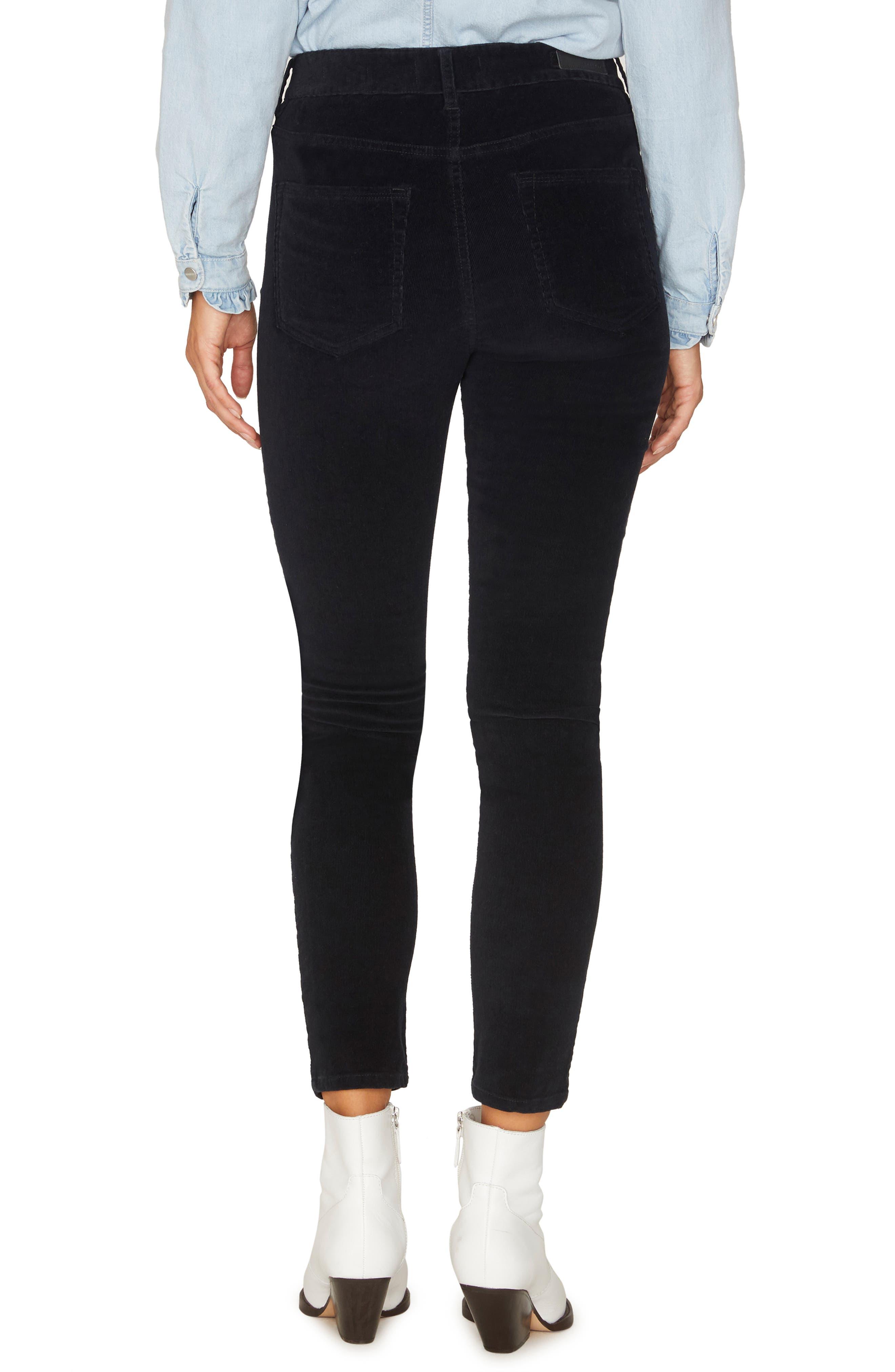 Social Standard Skinny Corduroy Pants,                             Alternate thumbnail 2, color,                             BLACK