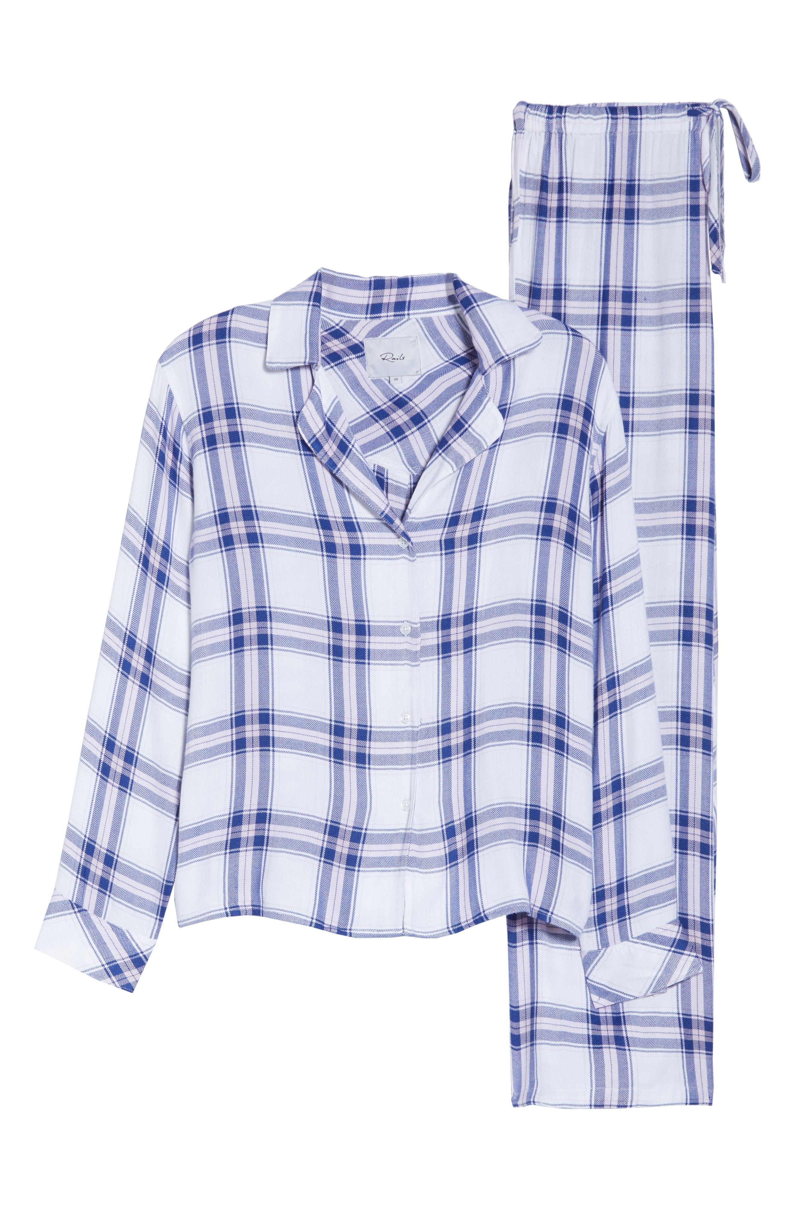 Plaid Pajamas,                             Alternate thumbnail 6, color,                             WHITE SAPPHIRE LILAC
