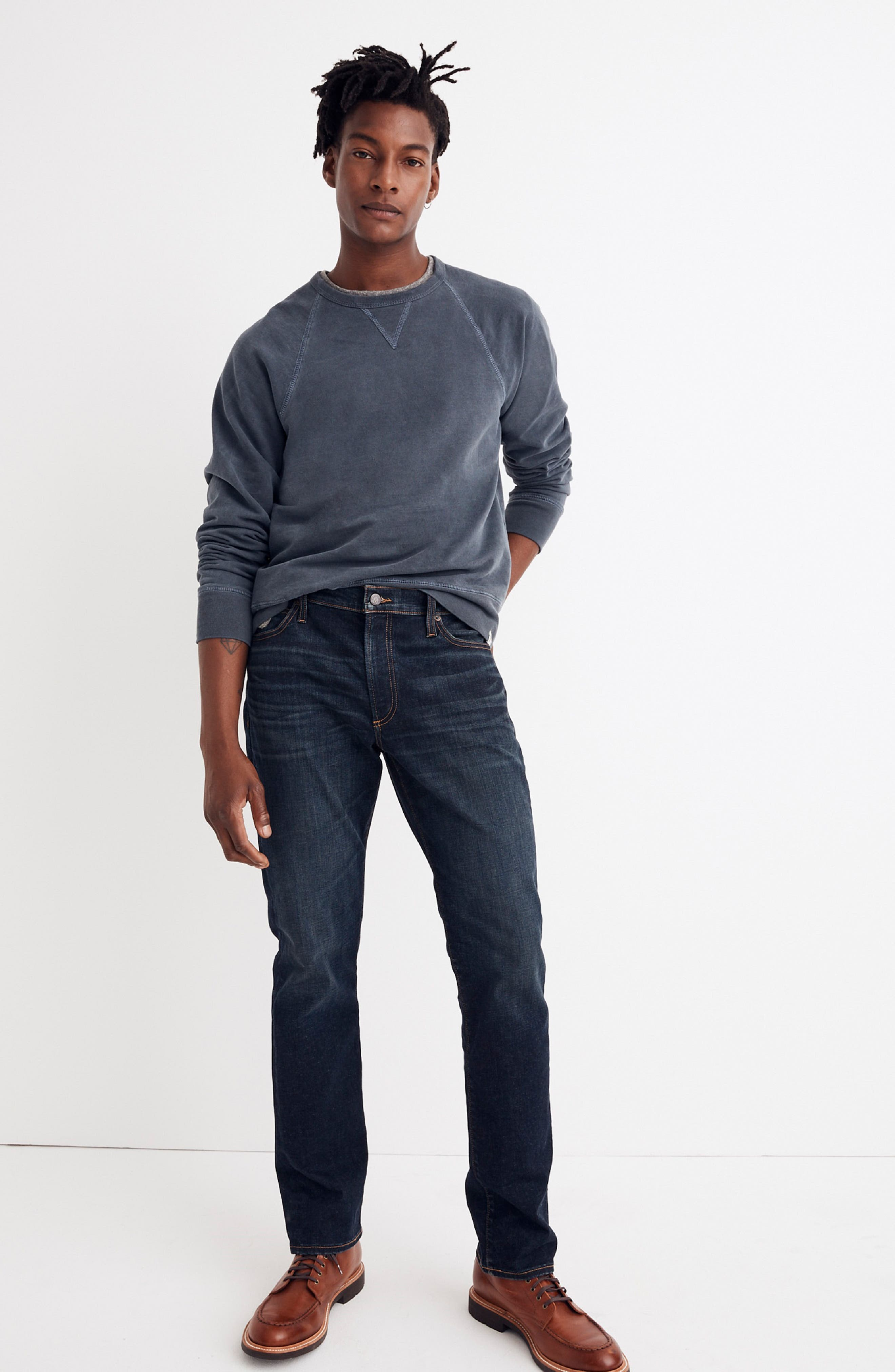 Slim Straight Fit Jeans,                             Alternate thumbnail 5, color,                             BRENFORD