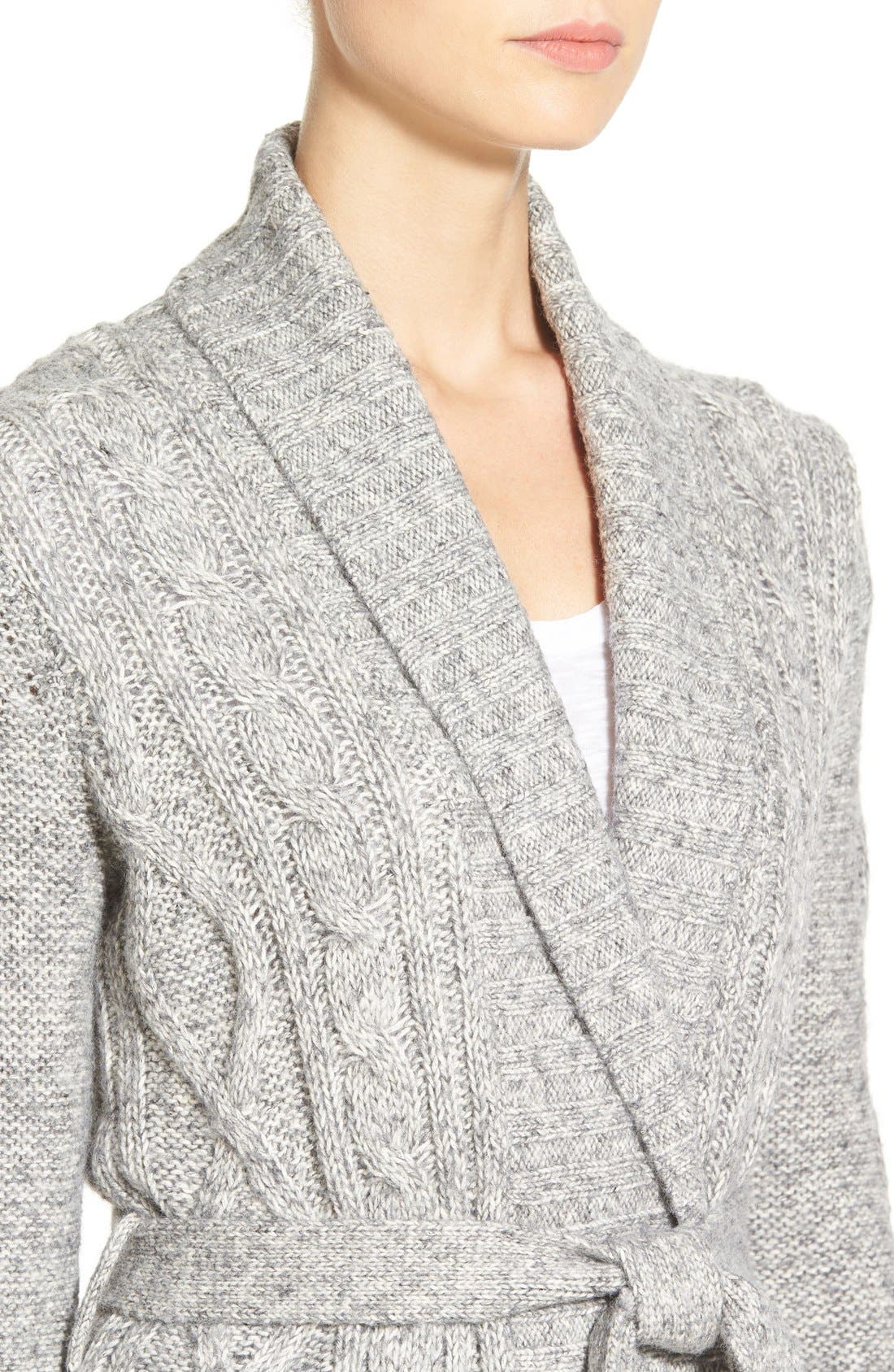 Belted Cable Knit Cardigan,                             Alternate thumbnail 5, color,                             054