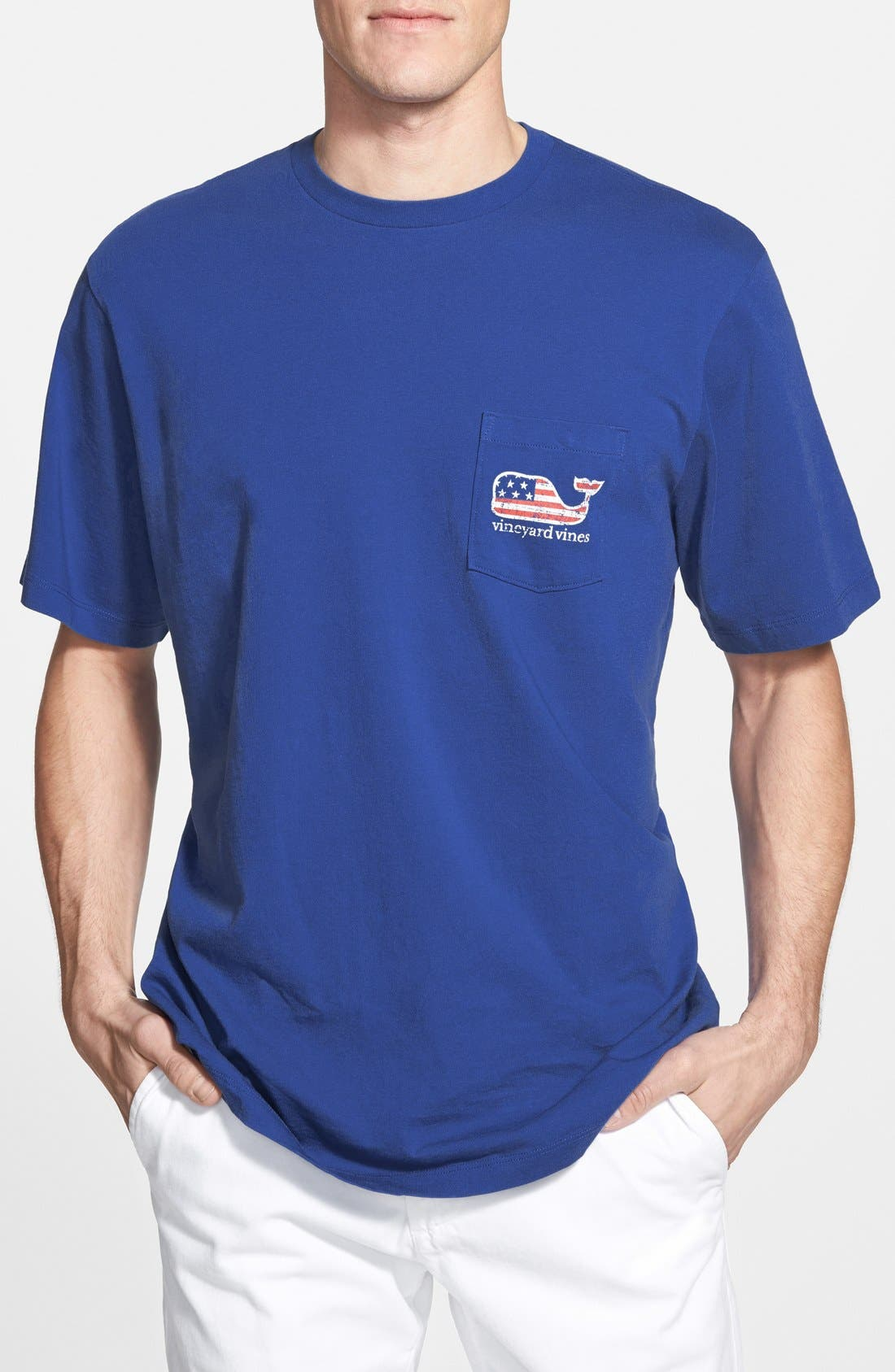 American Flag Whale Graphic T-Shirt,                             Alternate thumbnail 3, color,                             AVIATOR BLUE