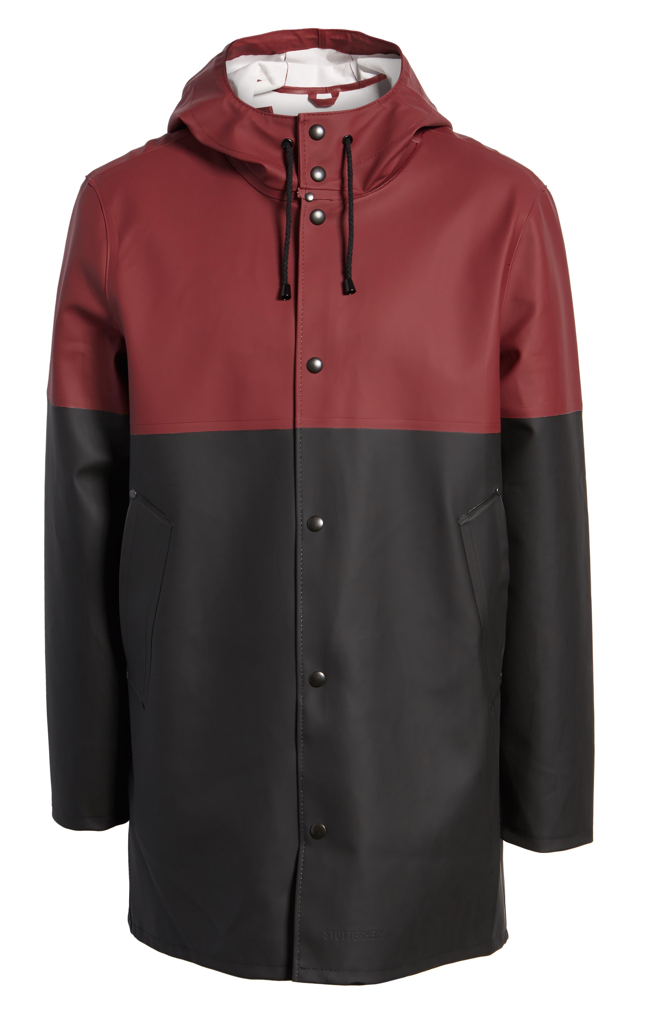 Stockholm Colorblock Waterproof Hooded Raincoat,                             Alternate thumbnail 6, color,                             BURGUNDY/ BLACK