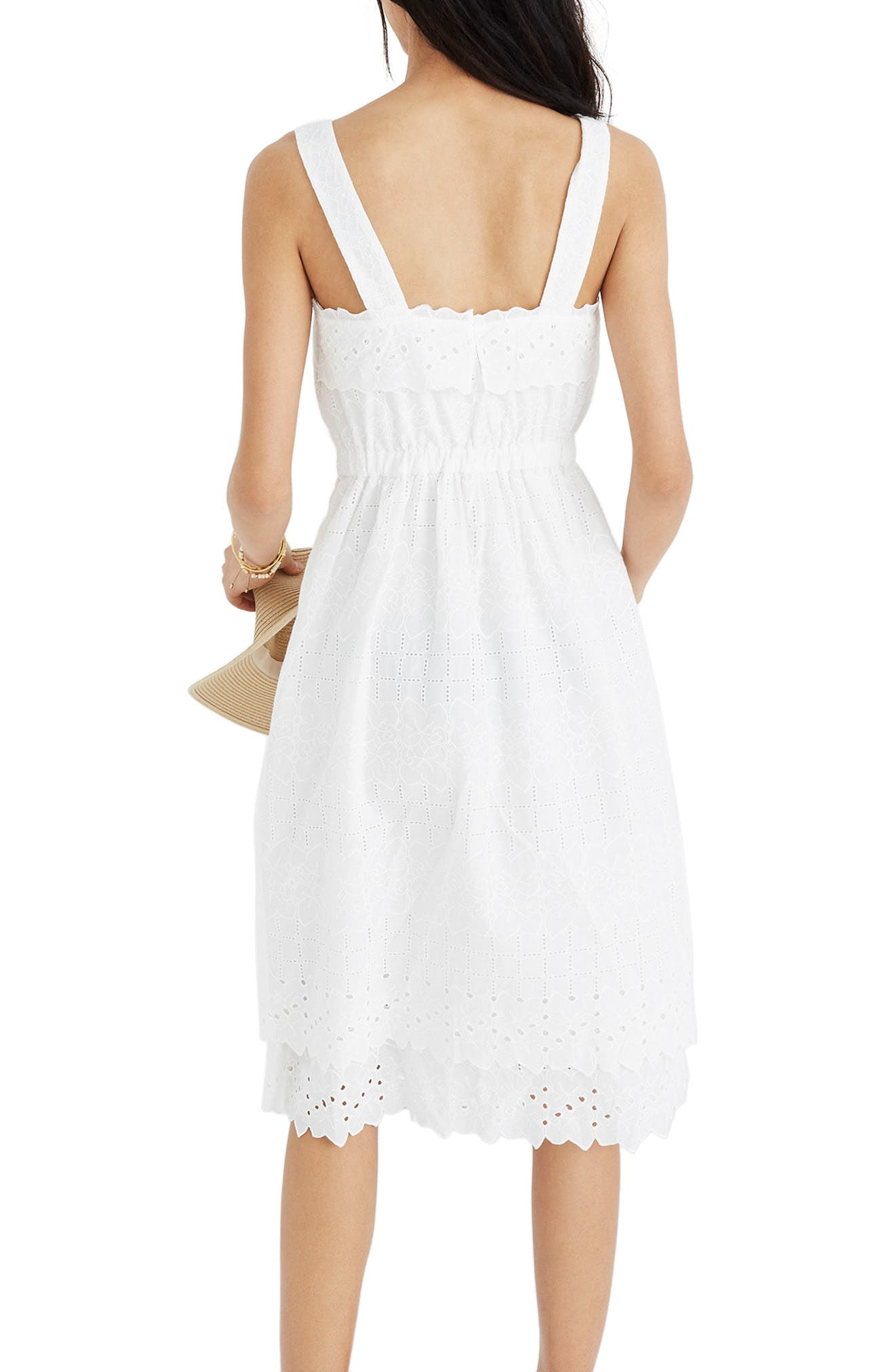 Eyelet Tiered Midi Dress,                             Alternate thumbnail 2, color,