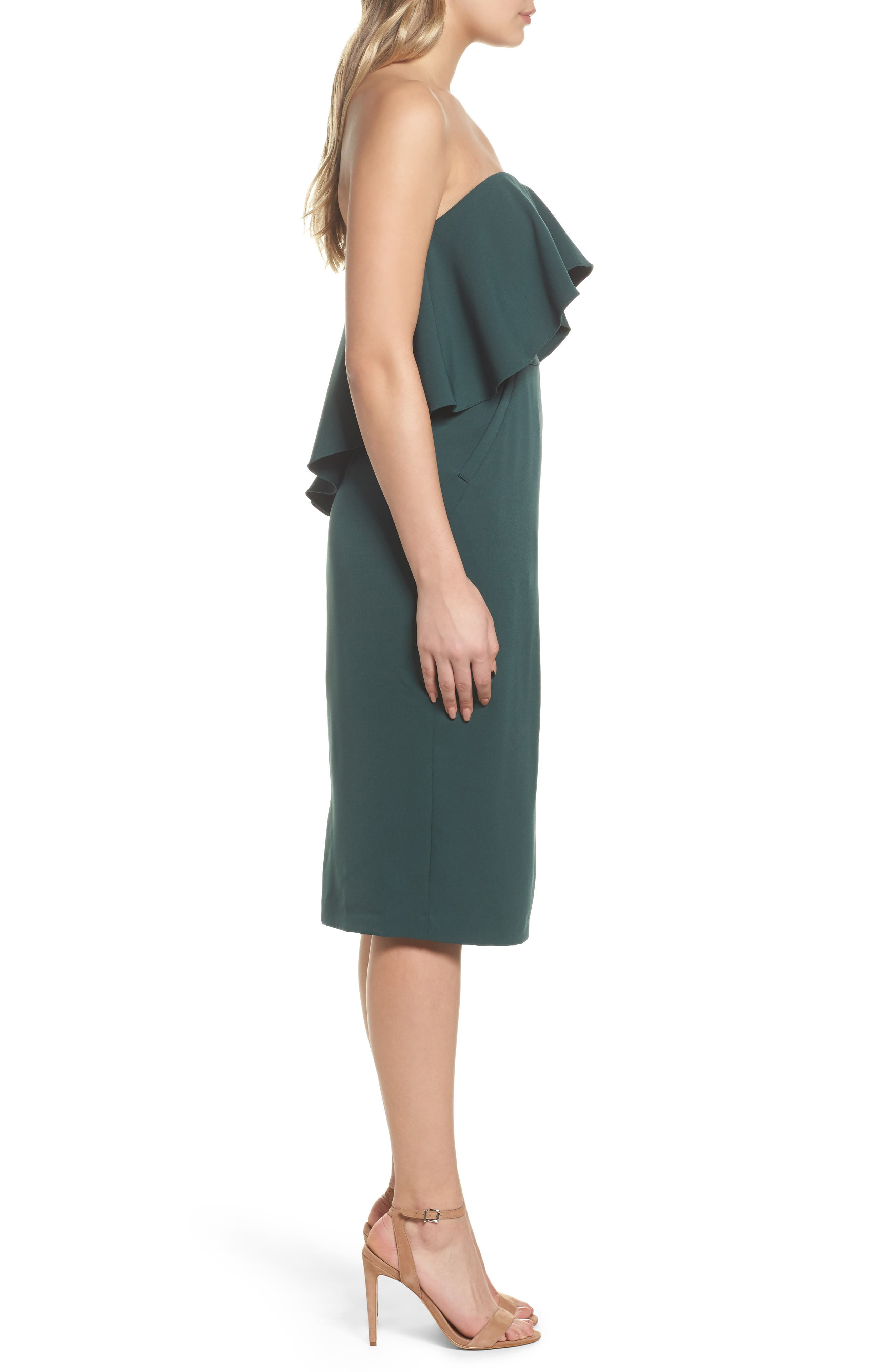 Ruffle Stretch Crepe Sheath Dress,                             Alternate thumbnail 14, color,