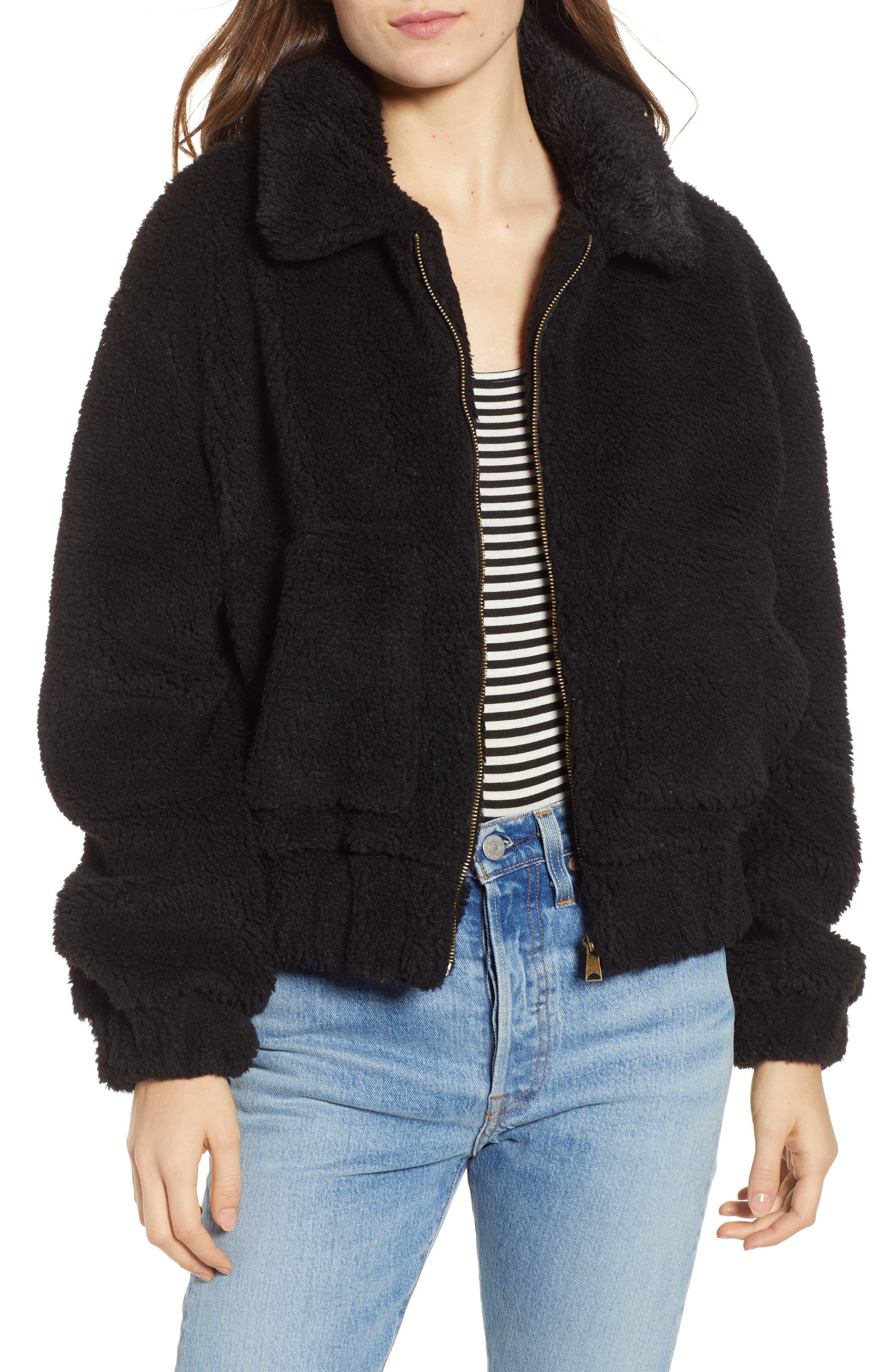 Northy Faux Fur Jacket,                             Main thumbnail 1, color,                             BLACK