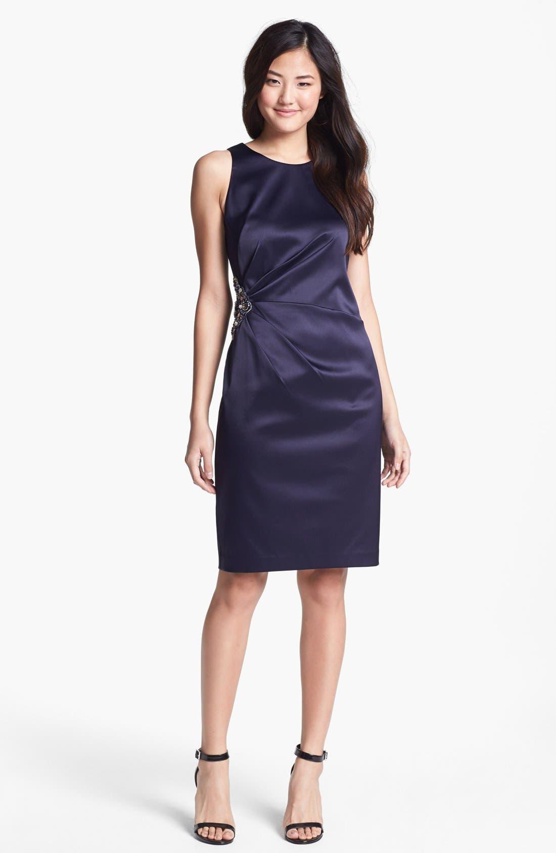 Embellished Side Ruched Sheath Dress,                             Main thumbnail 3, color,
