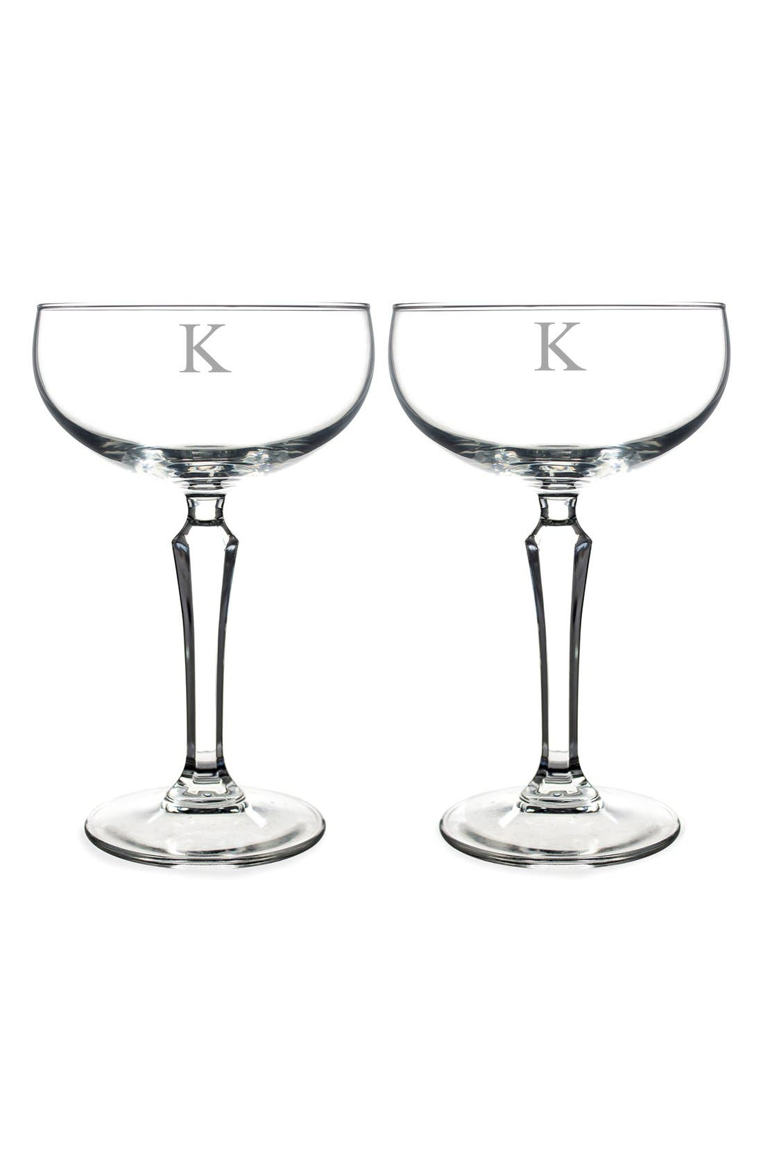 Monogram Coupe Cocktail/Champagne Glasses,                             Main thumbnail 13, color,