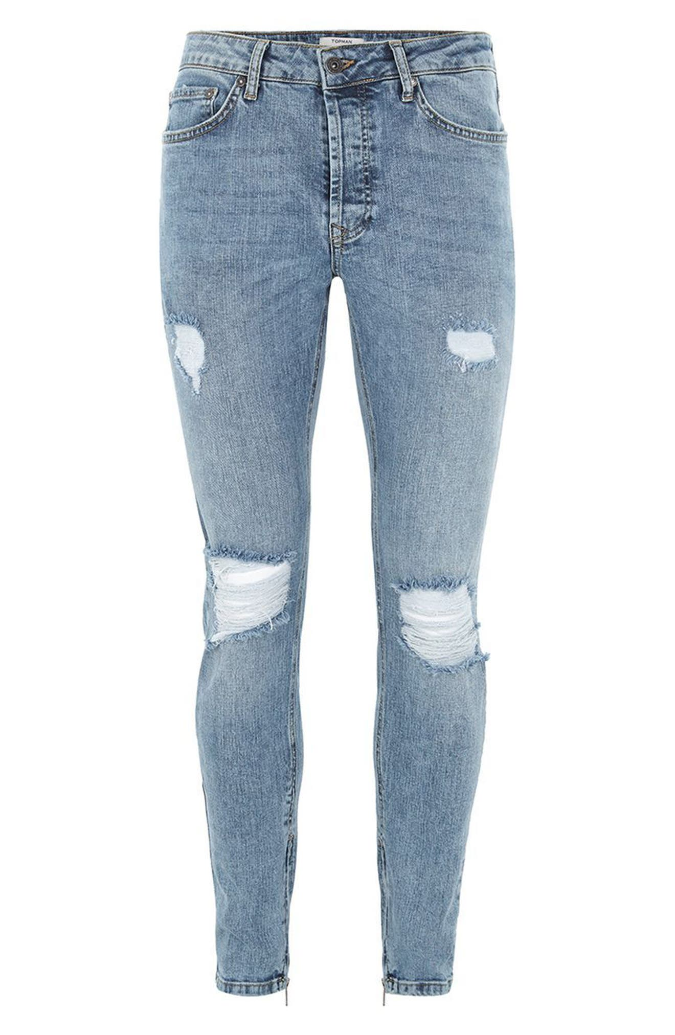 Ripped Acid Wash Skinny Jeans,                             Alternate thumbnail 4, color,                             BLUE