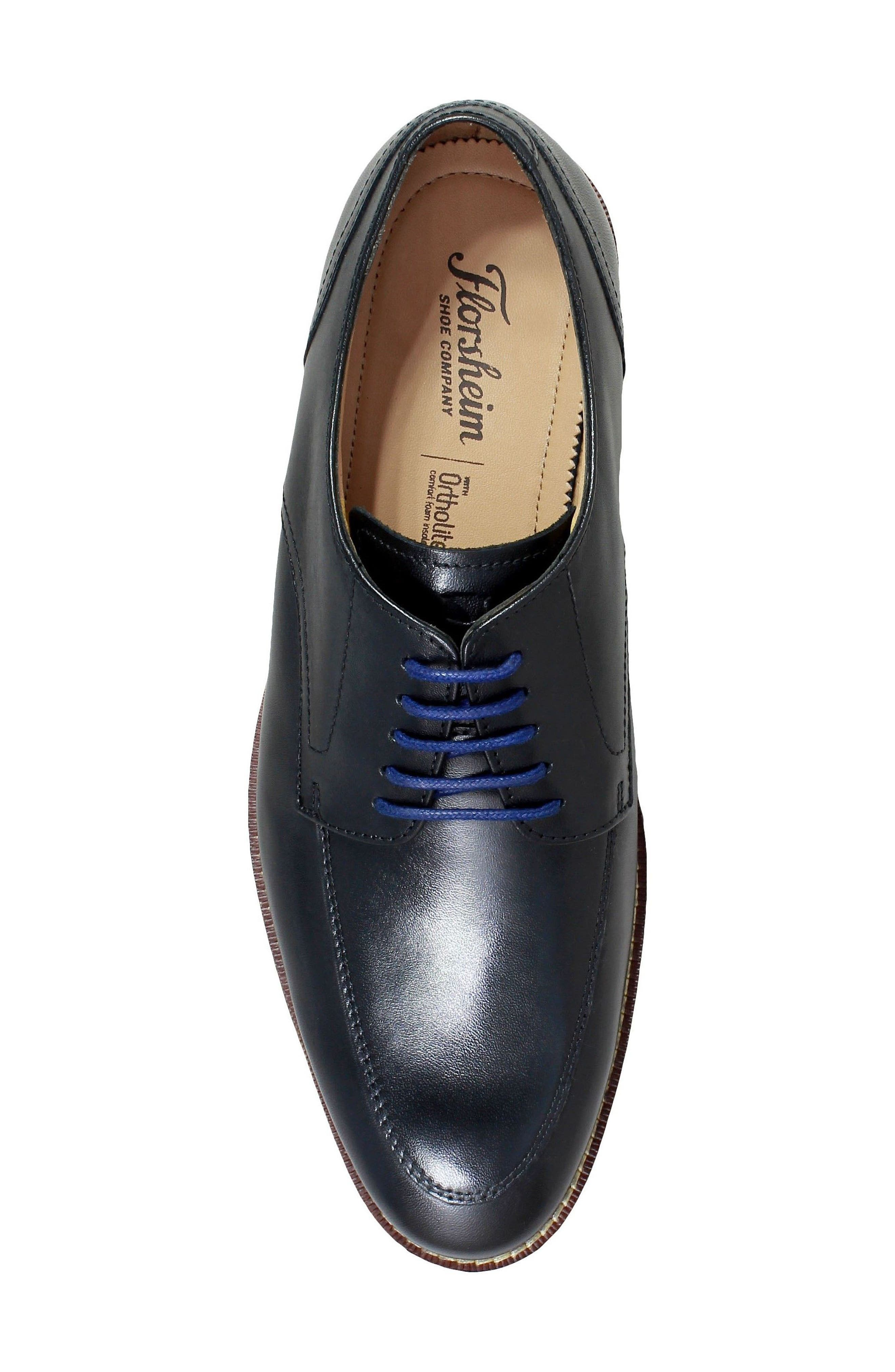 Salerno Apron Toe Derby,                             Alternate thumbnail 5, color,                             BLACK LEATHER