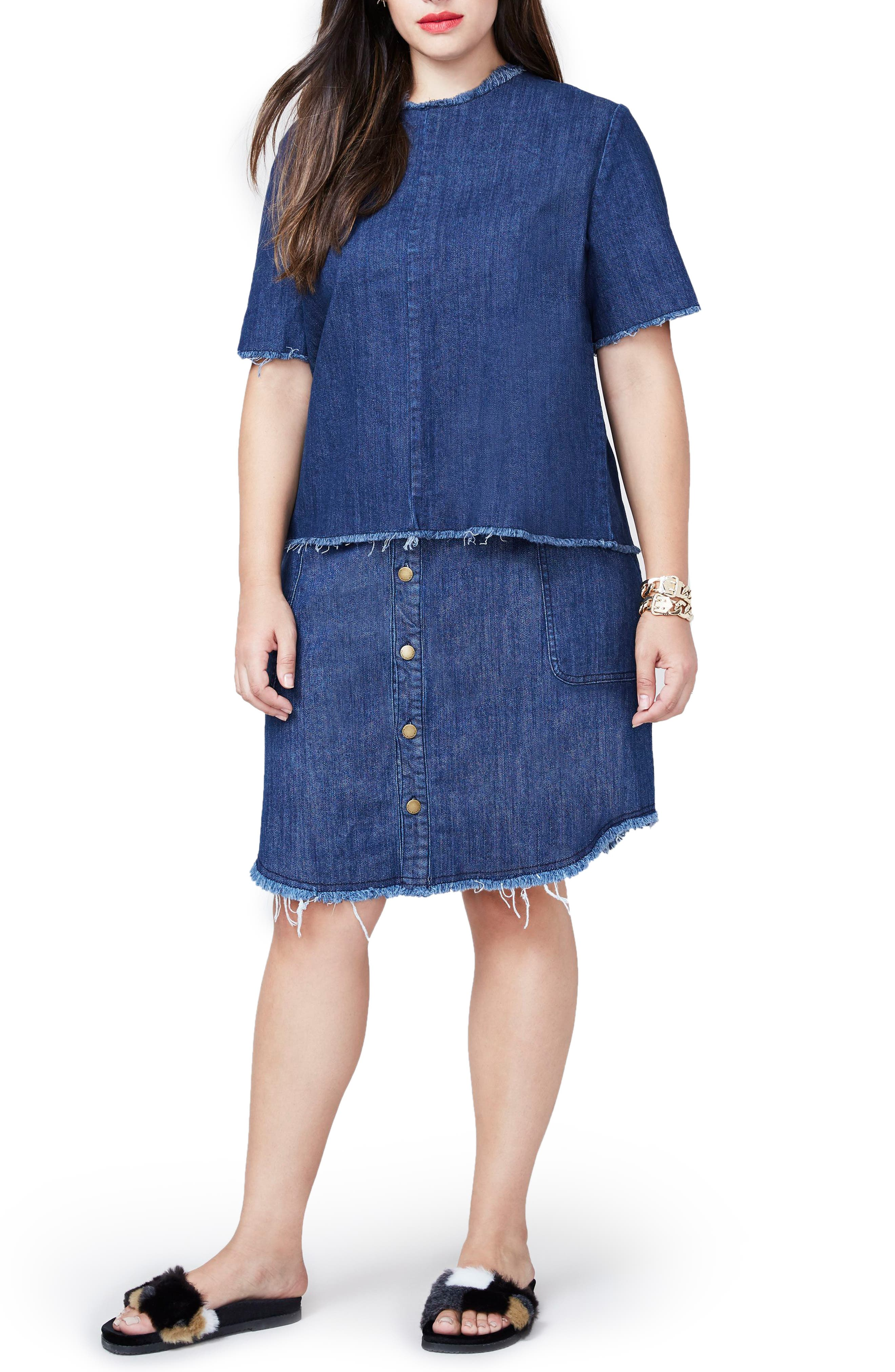 Denim Button Front Skirt,                             Main thumbnail 1, color,                             403