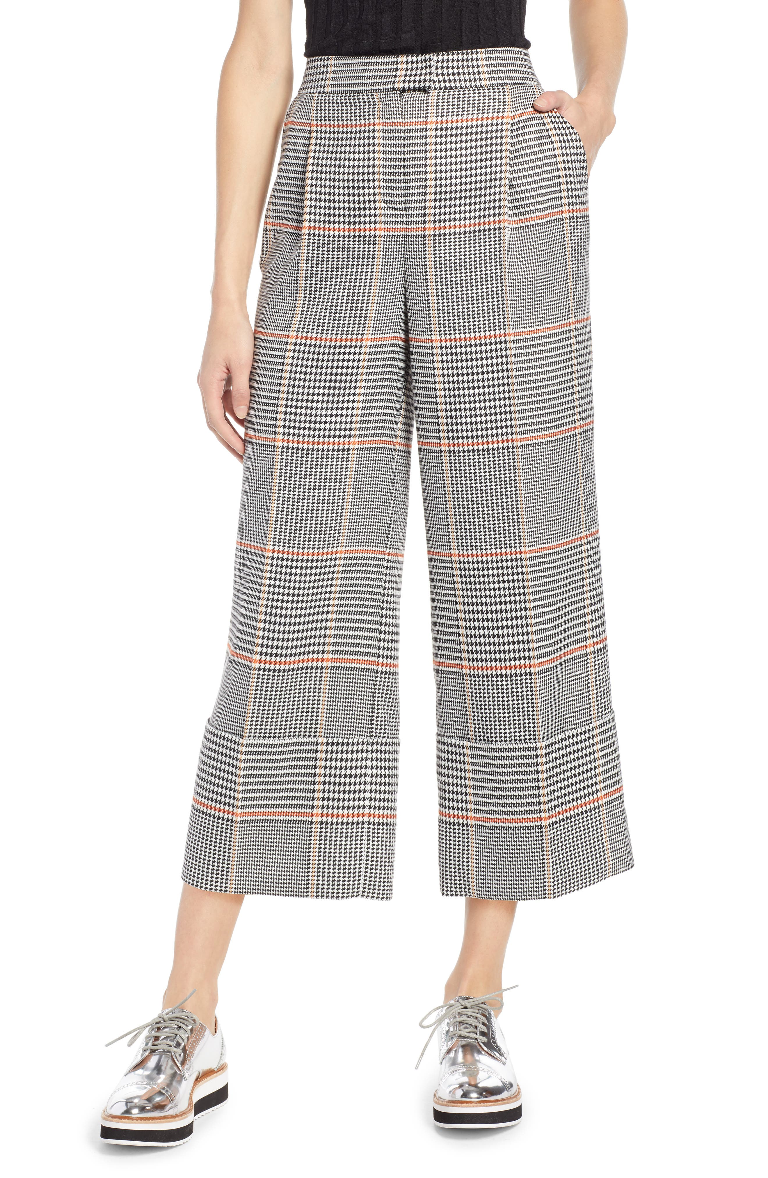 x Atlantic-Pacific Plaid Wide Leg Crop Pants,                         Main,                         color, BLACK PLAID