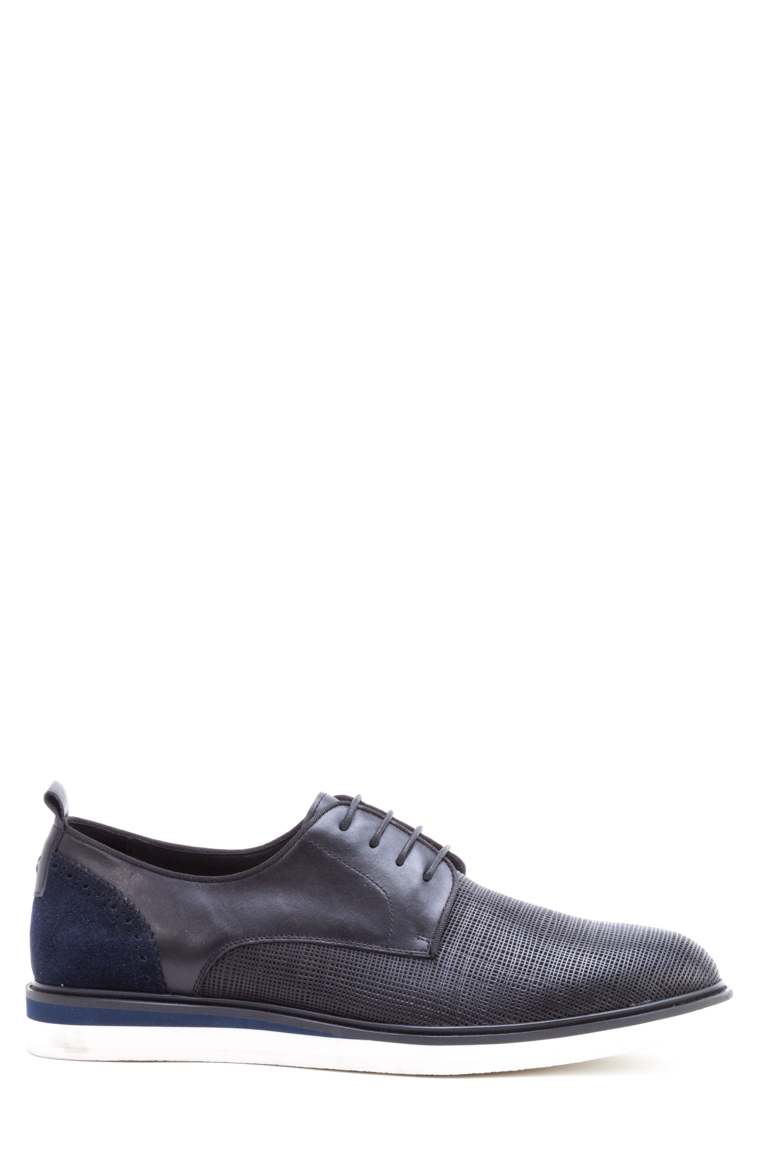Stem Textured Plain Toe Derby,                             Alternate thumbnail 3, color,                             BLACK LEATHER