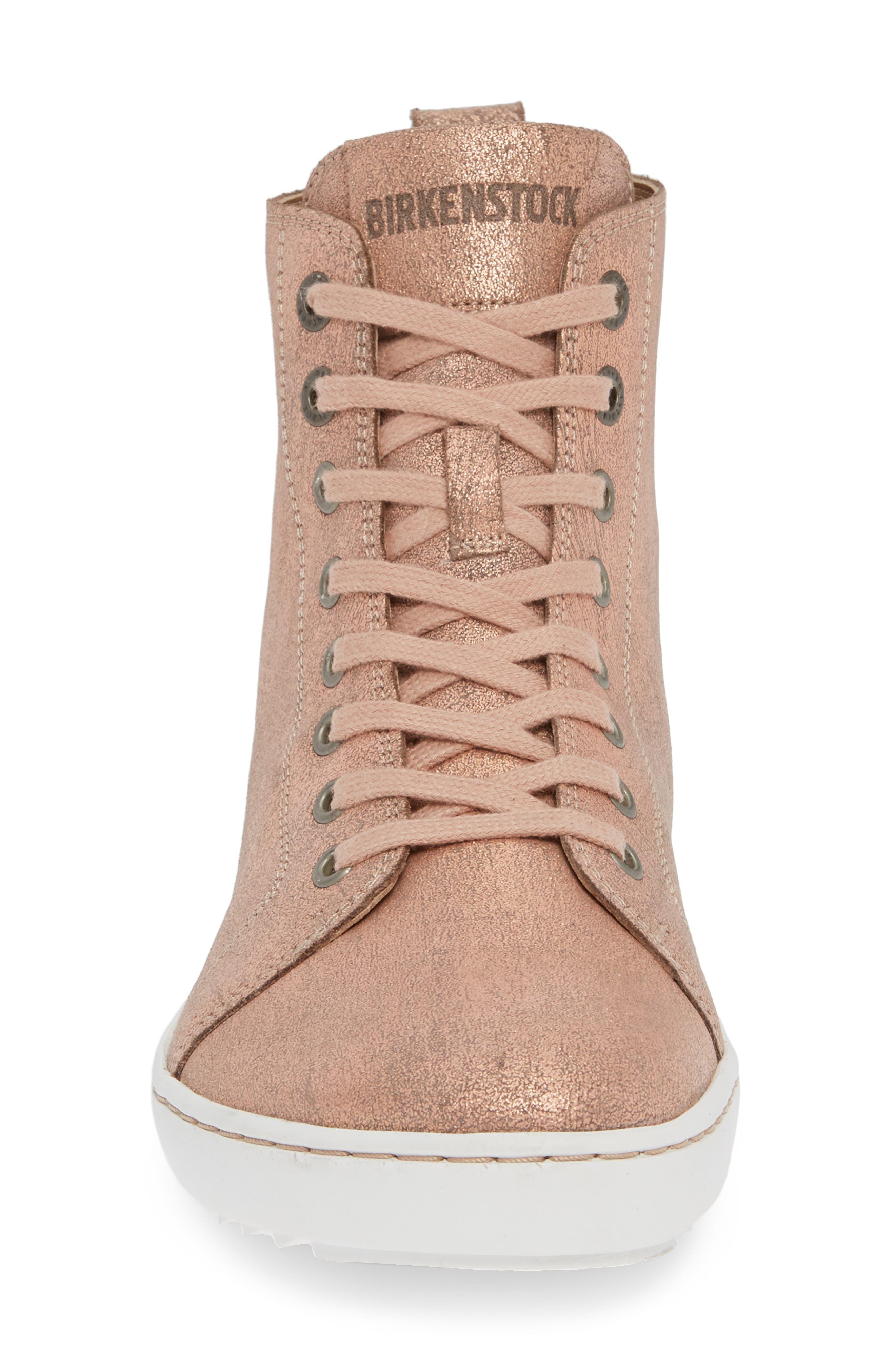 Bartlett High Top Sneaker,                             Alternate thumbnail 4, color,                             METALLIC ROSE LEATHER