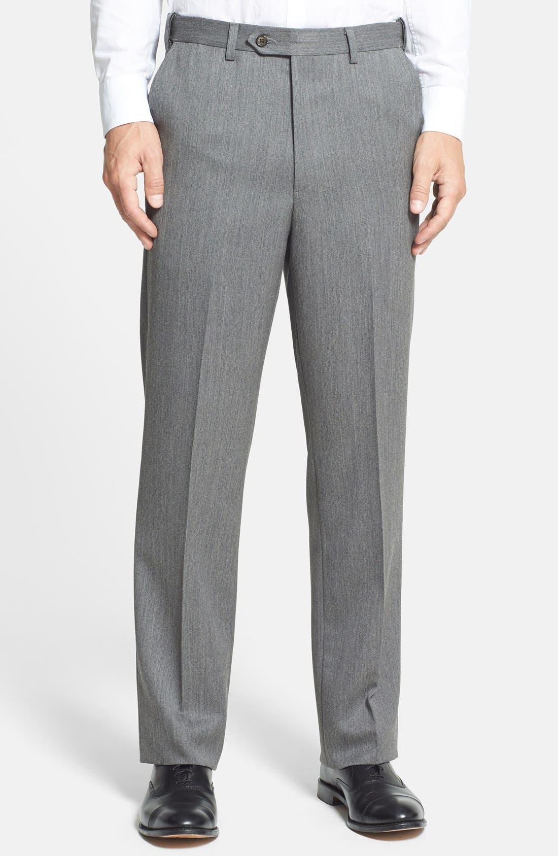 Self Sizer Waist Flat Front Wool Gabardine Trousers,                             Main thumbnail 1, color,                             MEDIUM GREY
