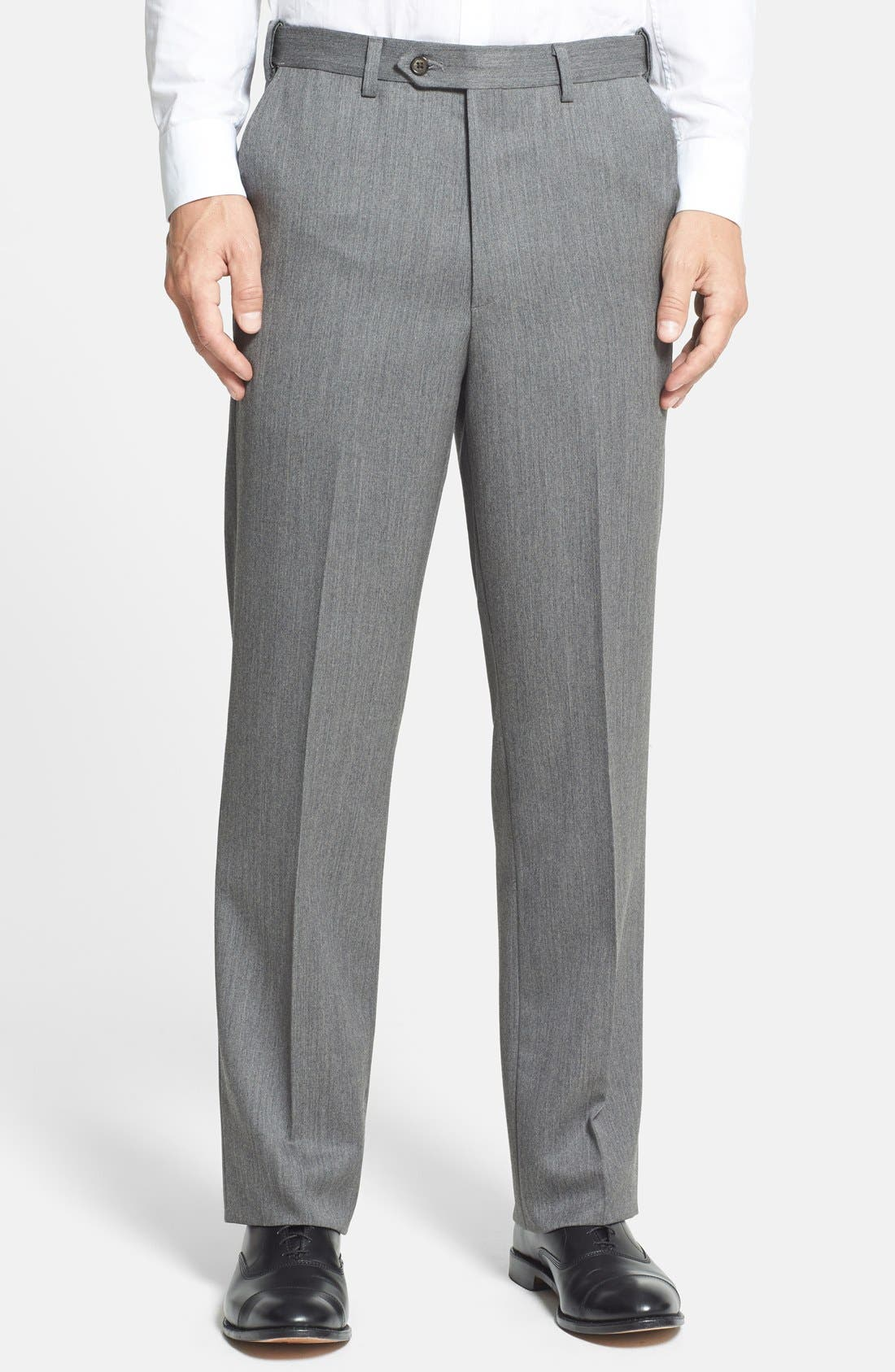 Self Sizer Waist Flat Front Wool Gabardine Trousers,                         Main,                         color, MEDIUM GREY