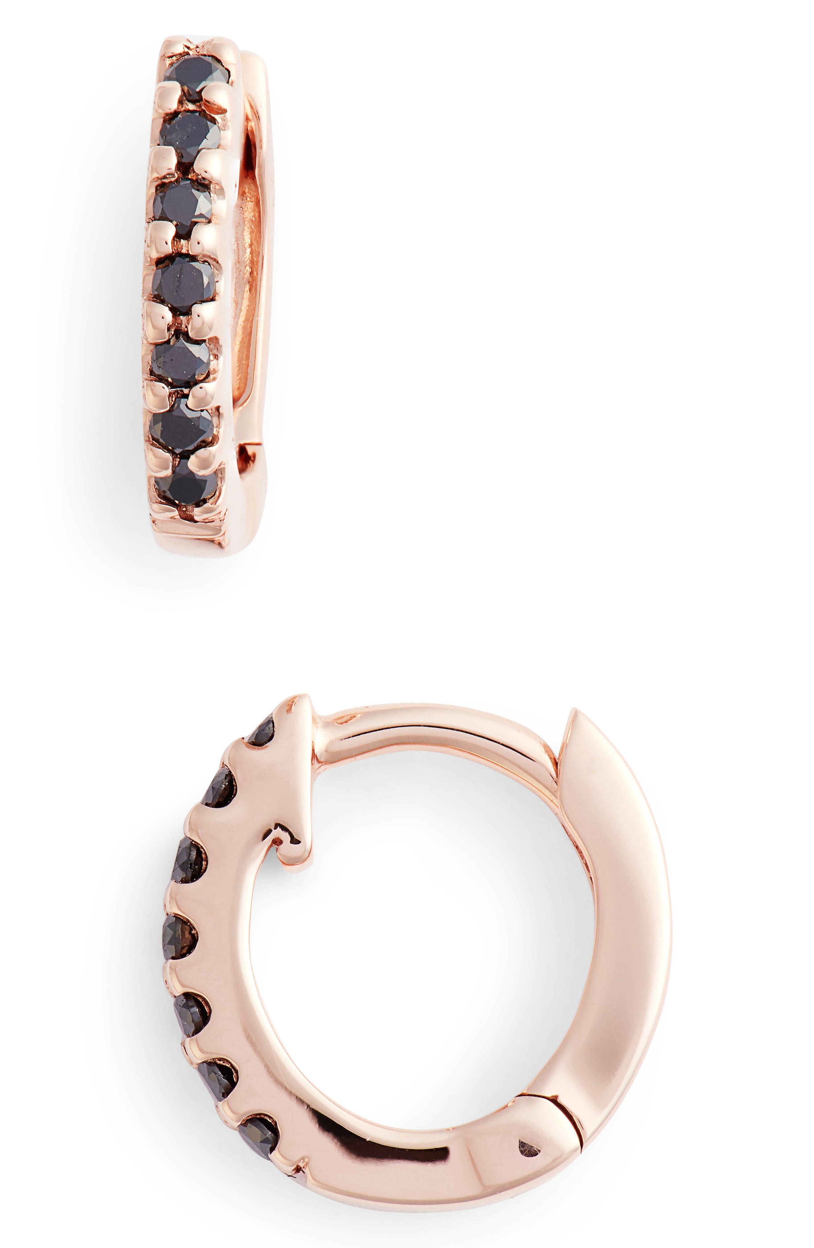 Mini Black Diamond Earrings,                             Main thumbnail 3, color,