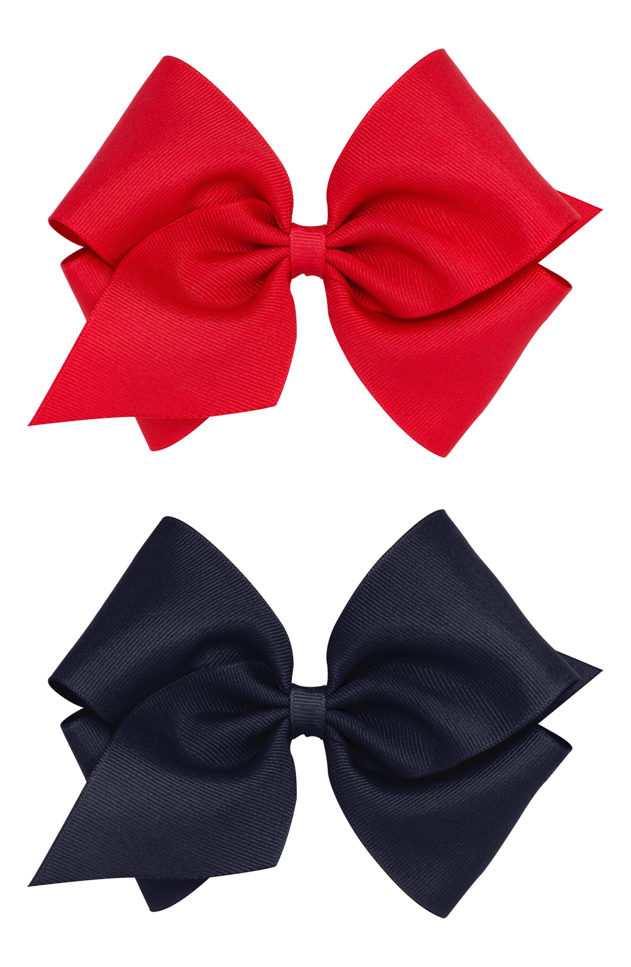 Set of 2 Mini King Grosgrain Bow Hair Clips,                             Main thumbnail 1, color,                             600