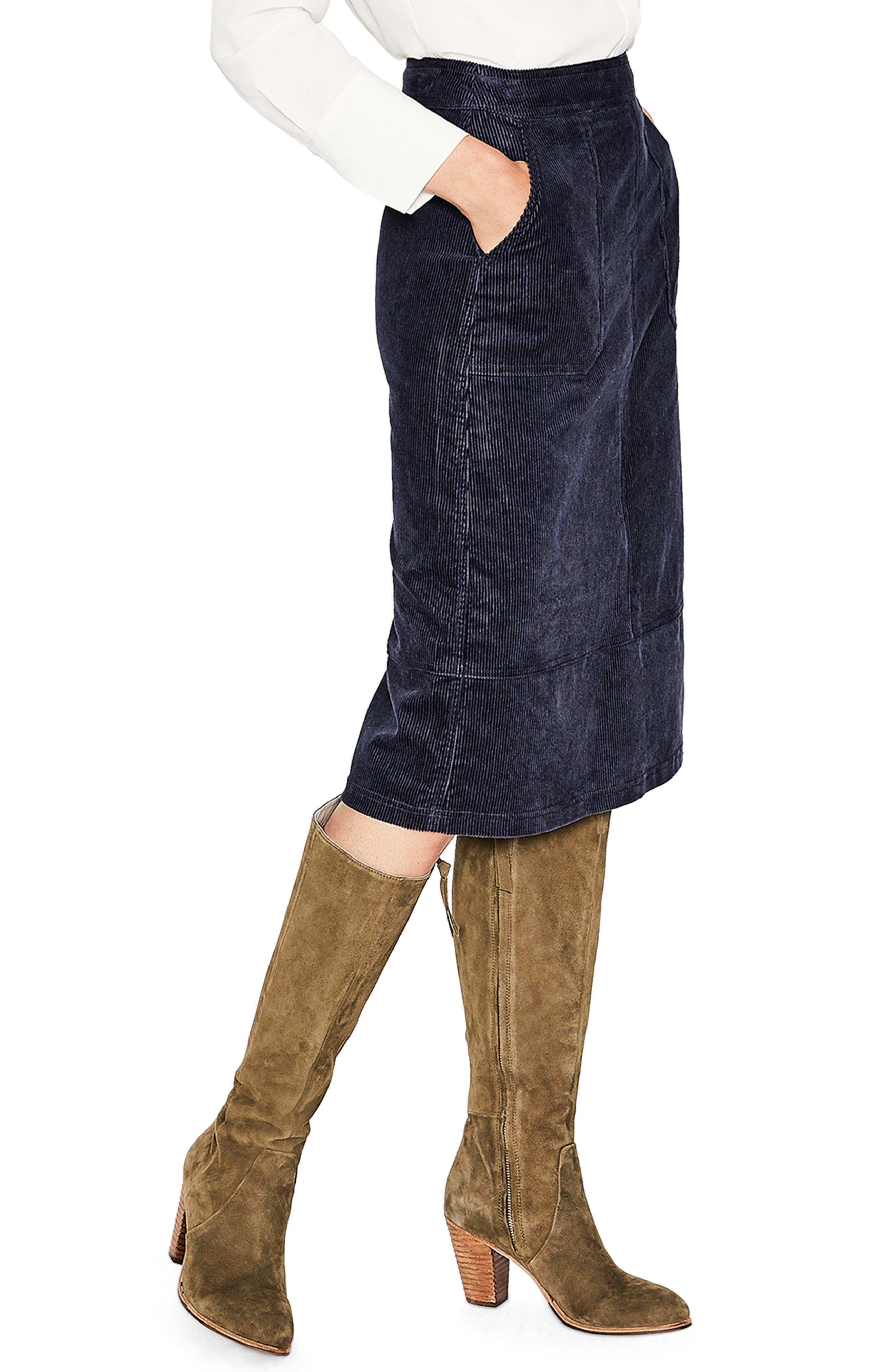 Patch Pocket Corduroy Midi Skirt,                             Alternate thumbnail 3, color,                             024