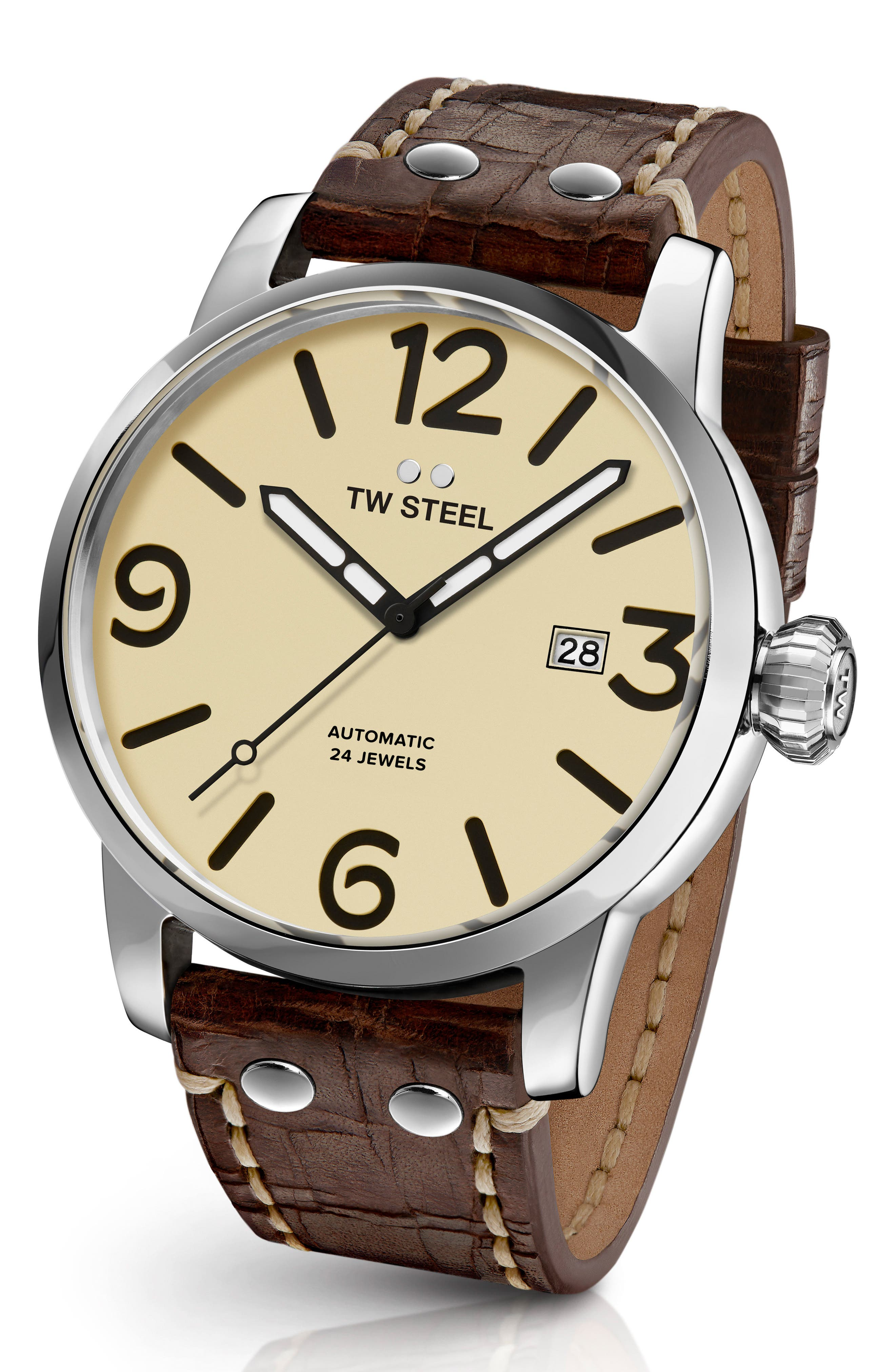 Maverick Automatic Leather Strap Watch, 48mm,                         Main,                         color, CHOCOLATE/ CREAM/ SILVER