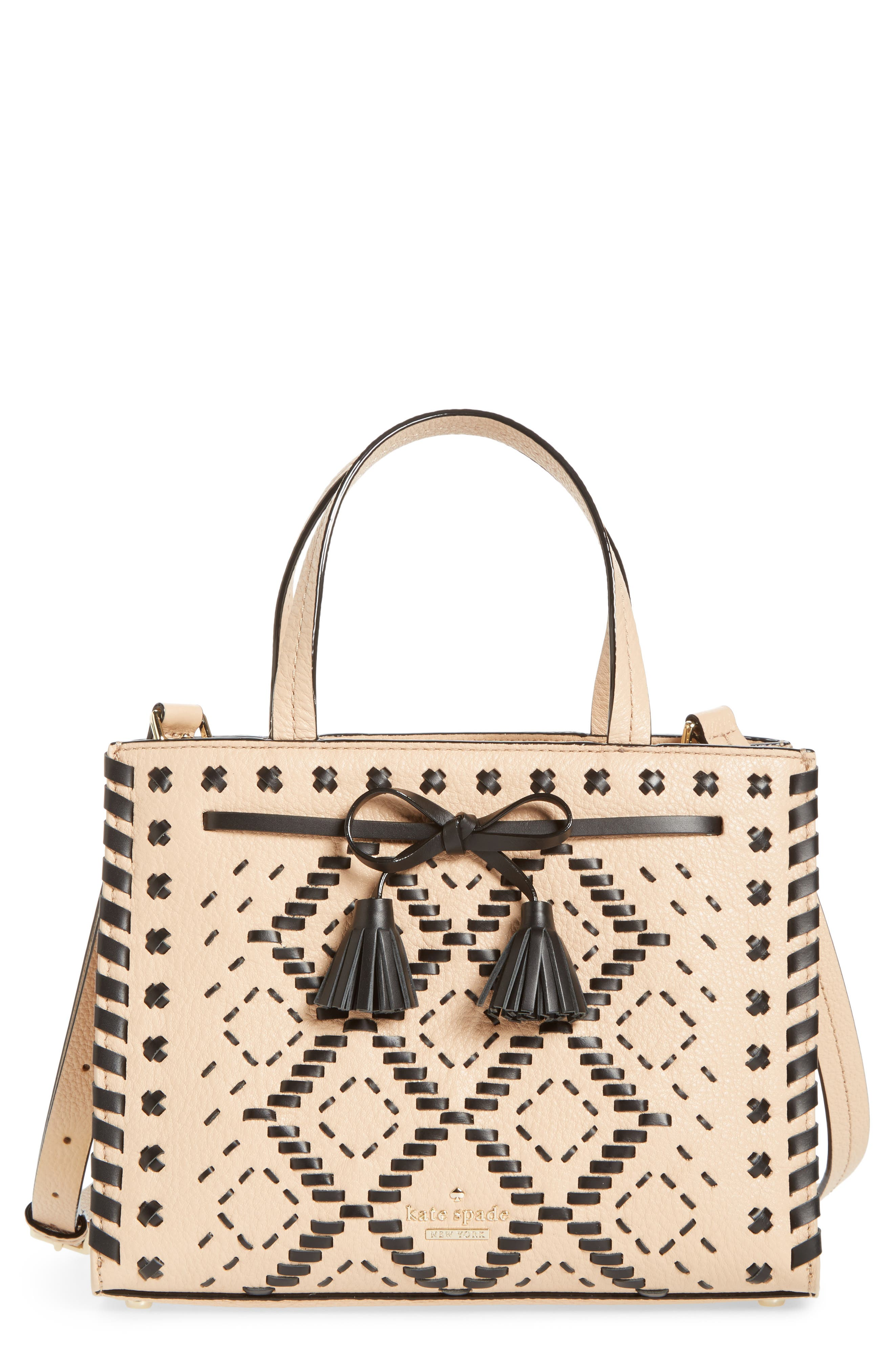 KATE SPADE NEW YORK,                             woven small hayes street - isobel leather satchel,                             Main thumbnail 1, color,                             250