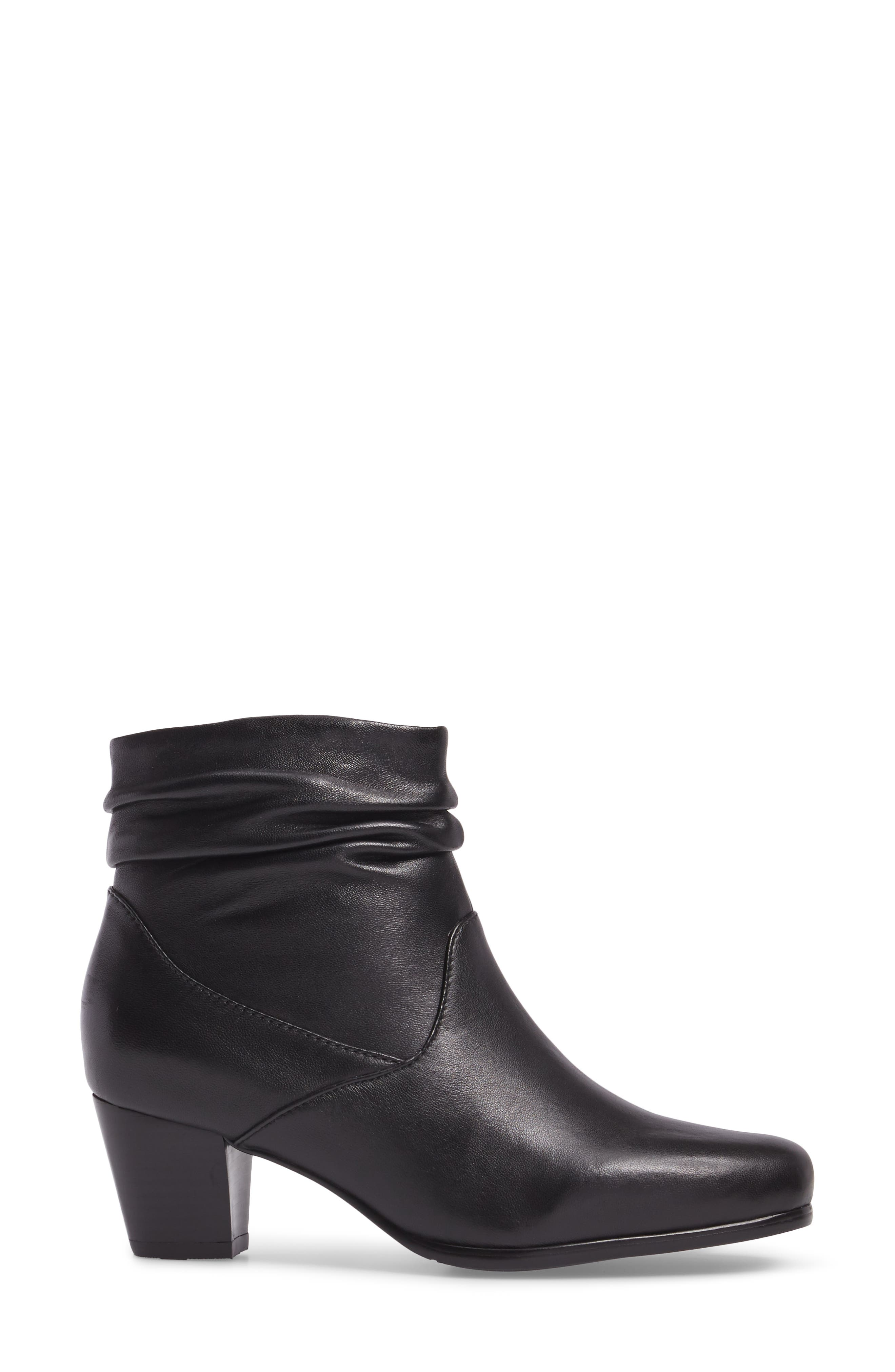 Shadown Bootie,                             Alternate thumbnail 3, color,                             BLACK LEATHER