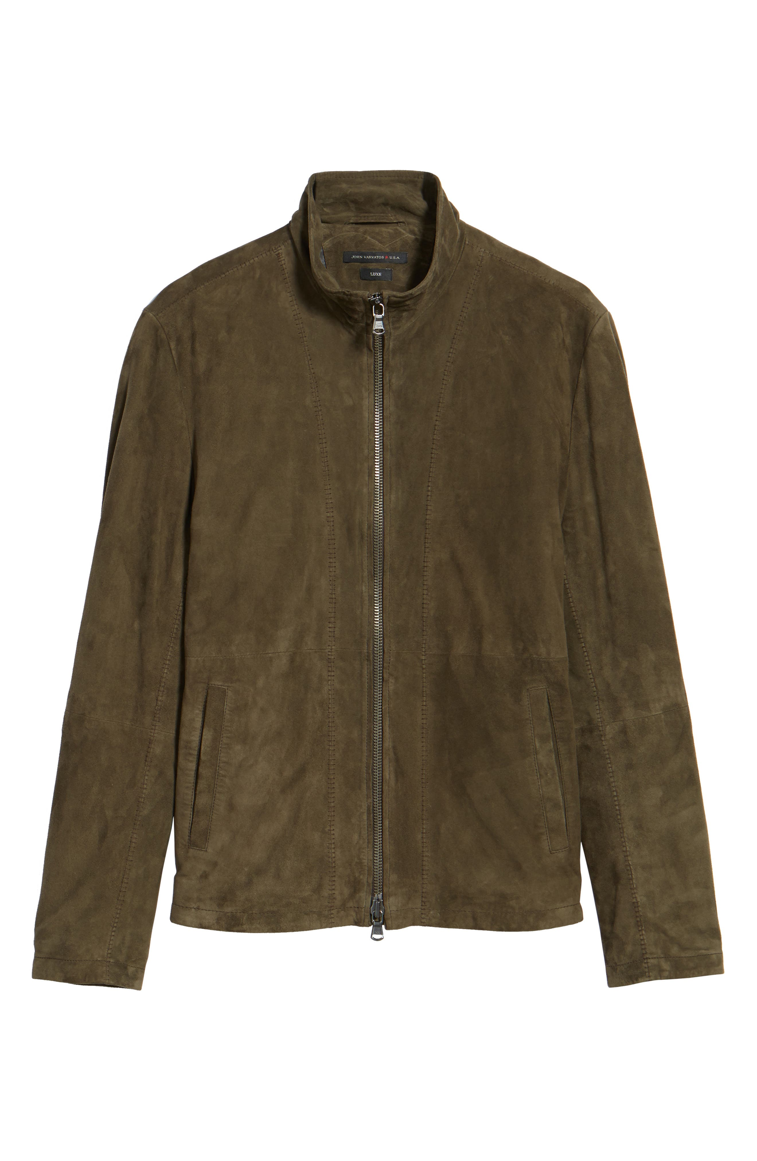 Zip Front Leather Jacket,                             Alternate thumbnail 5, color,                             307