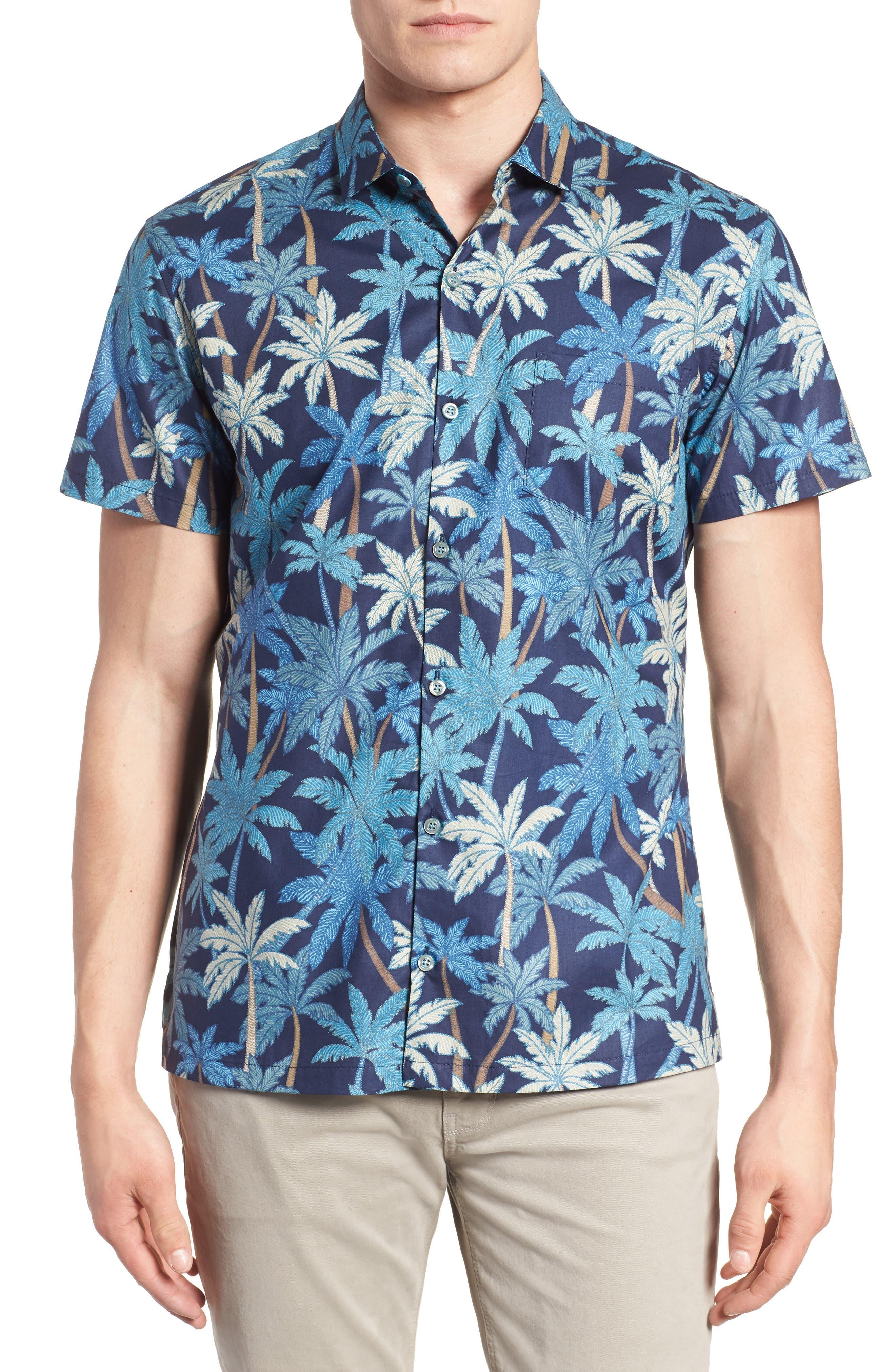 Pick a Palm Trim Fit Camp Shirt,                         Main,                         color, NAVY