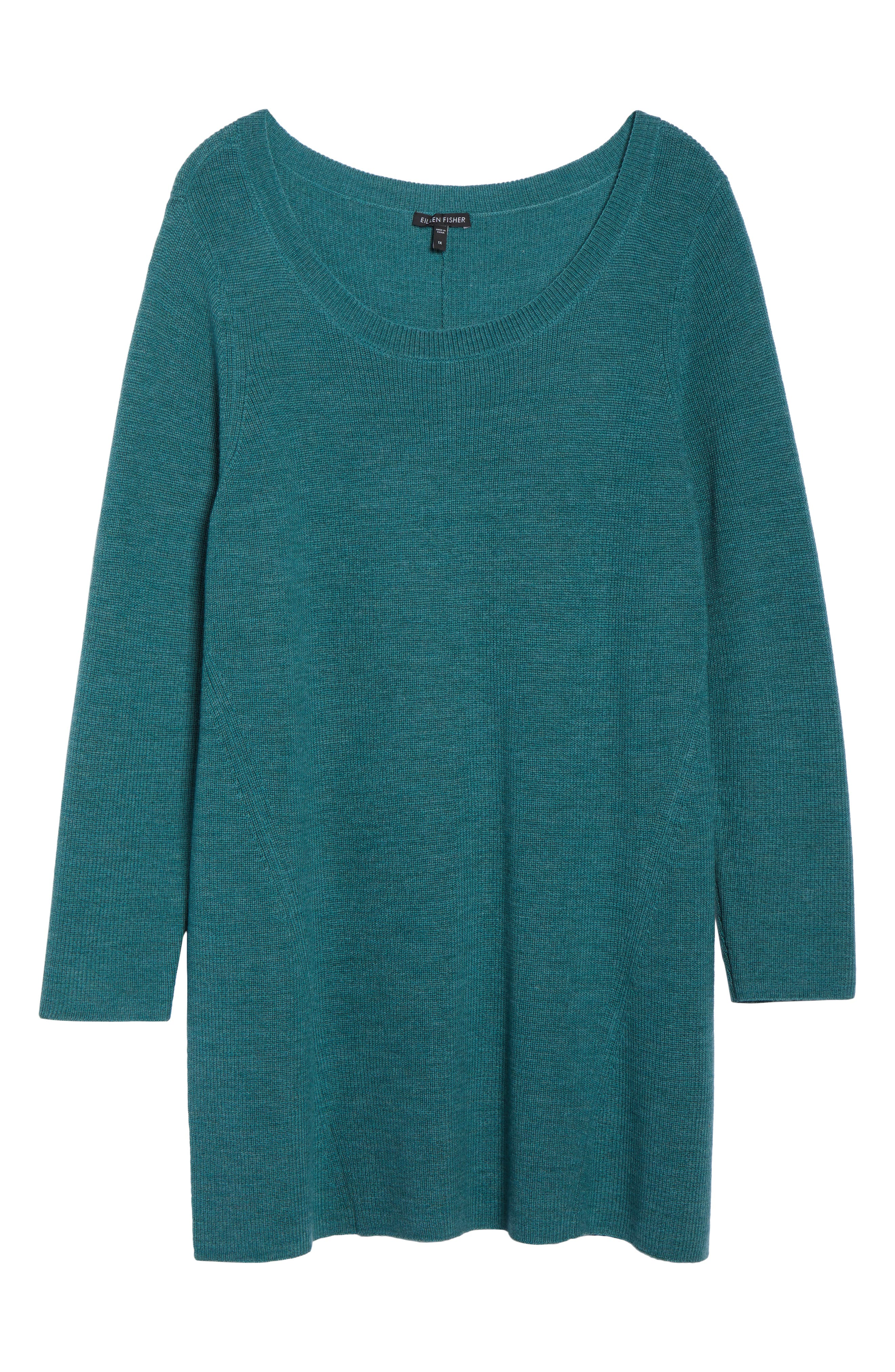 EILEEN FISHER,                             Merino Wool Tunic Sweater,                             Alternate thumbnail 6, color,                             DRAGONFLY