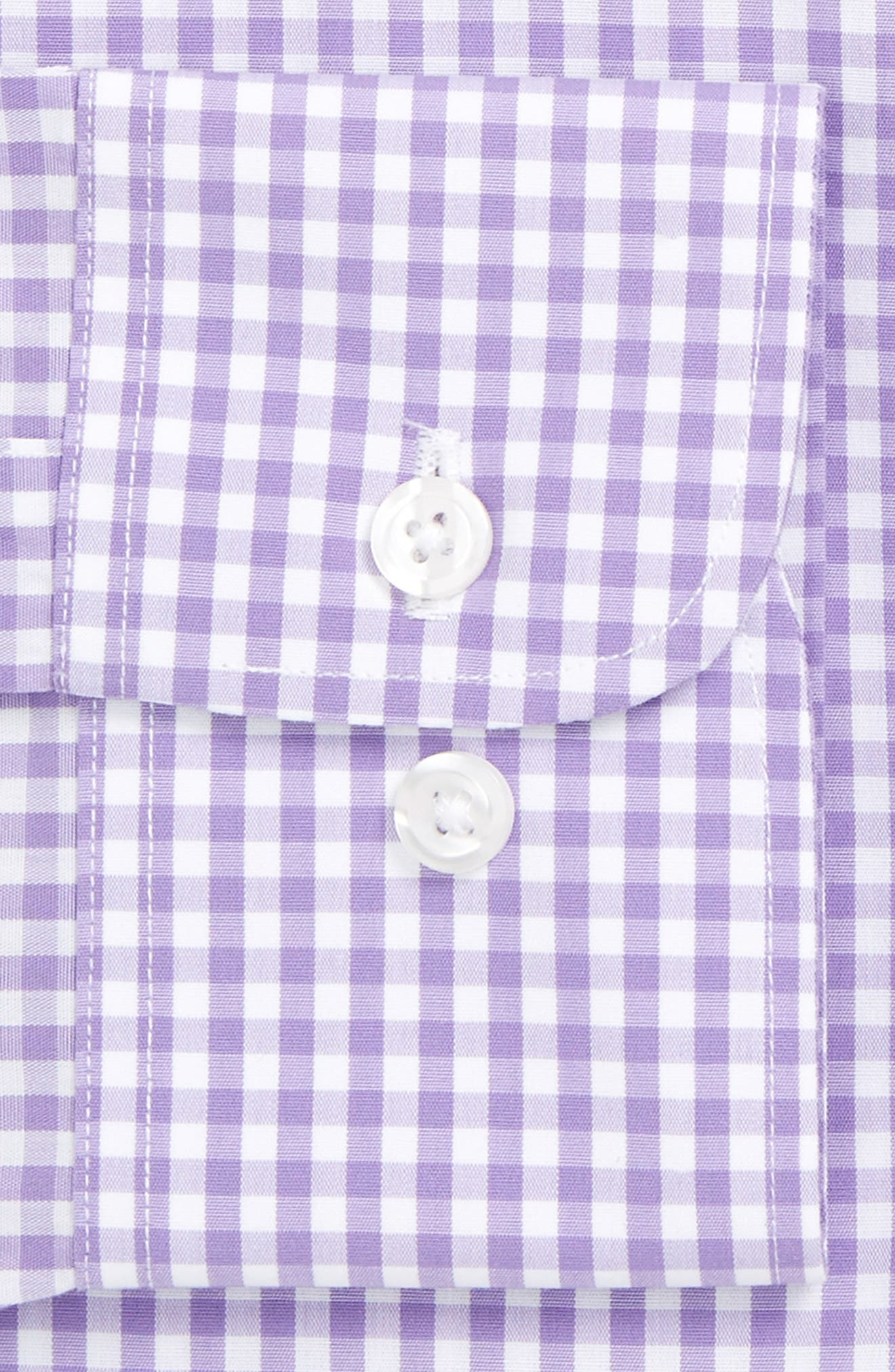 Slim Fit Wrinkle Free Check Dress Shirt,                             Alternate thumbnail 4, color,                             LILAC