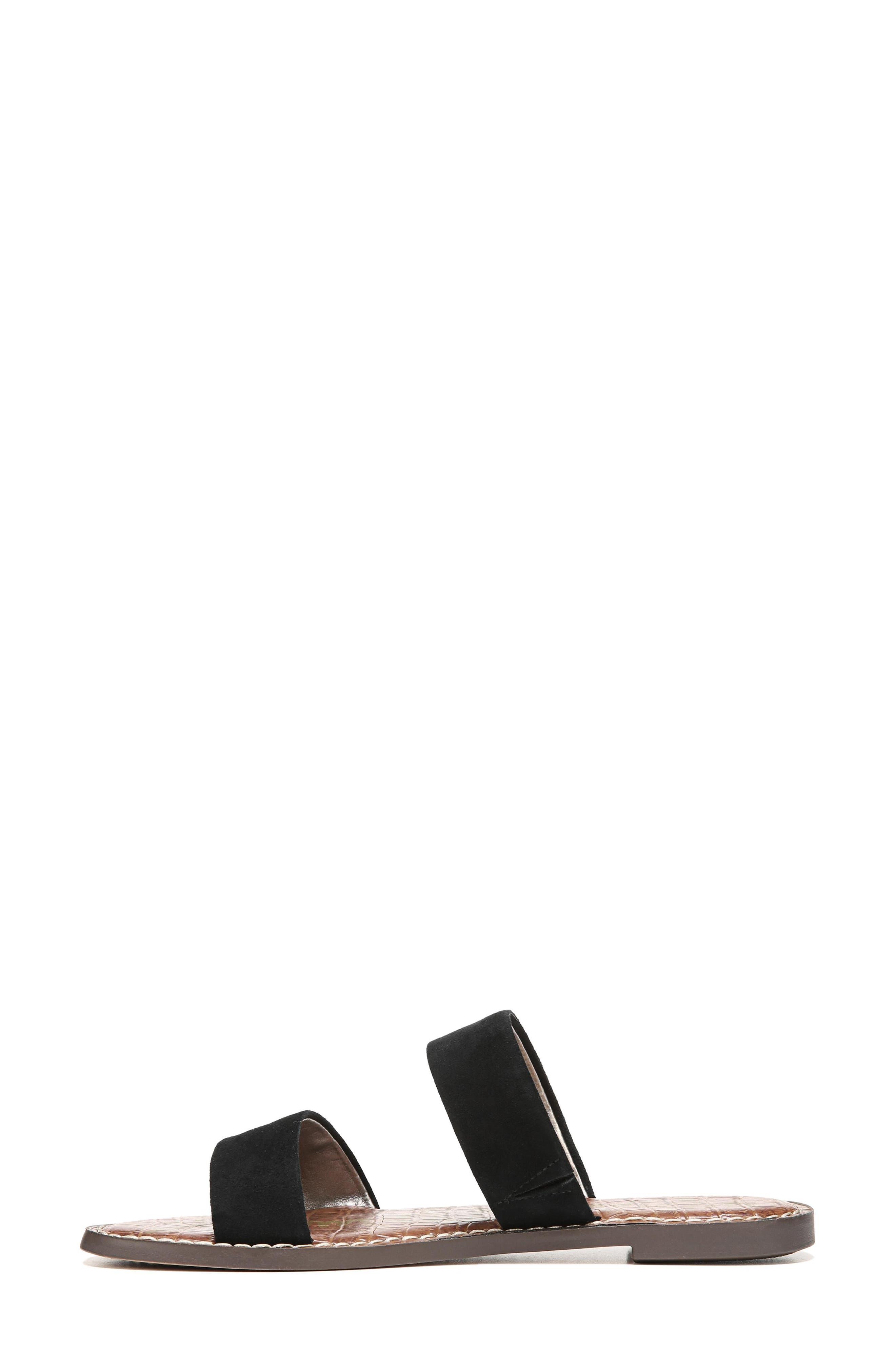Gala Two Strap Slide Sandal,                             Alternate thumbnail 3, color,                             BLACK SUEDE