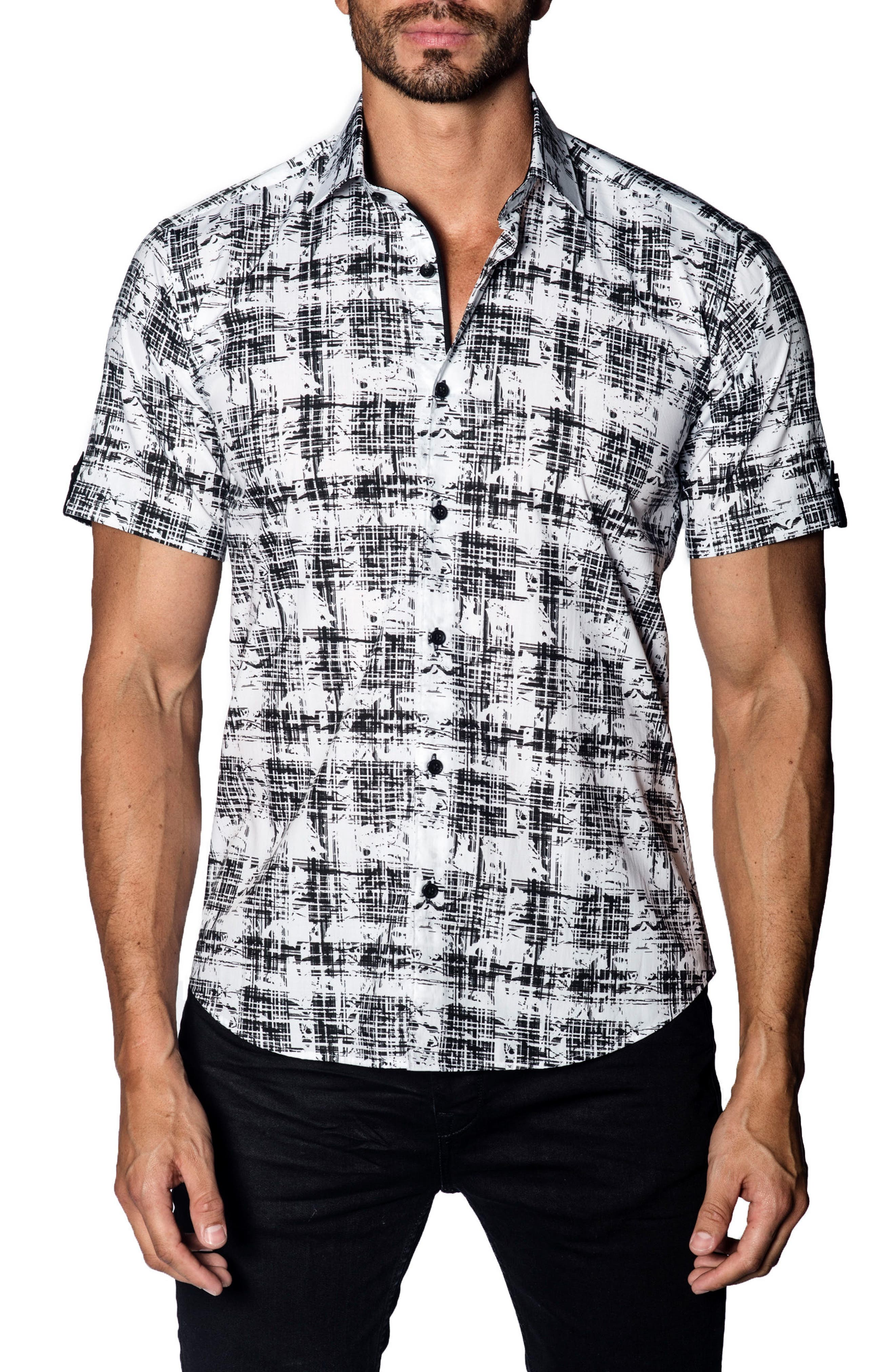 Trim Fit Print Sport Shirt,                             Main thumbnail 1, color,                             BLACK - WHITE