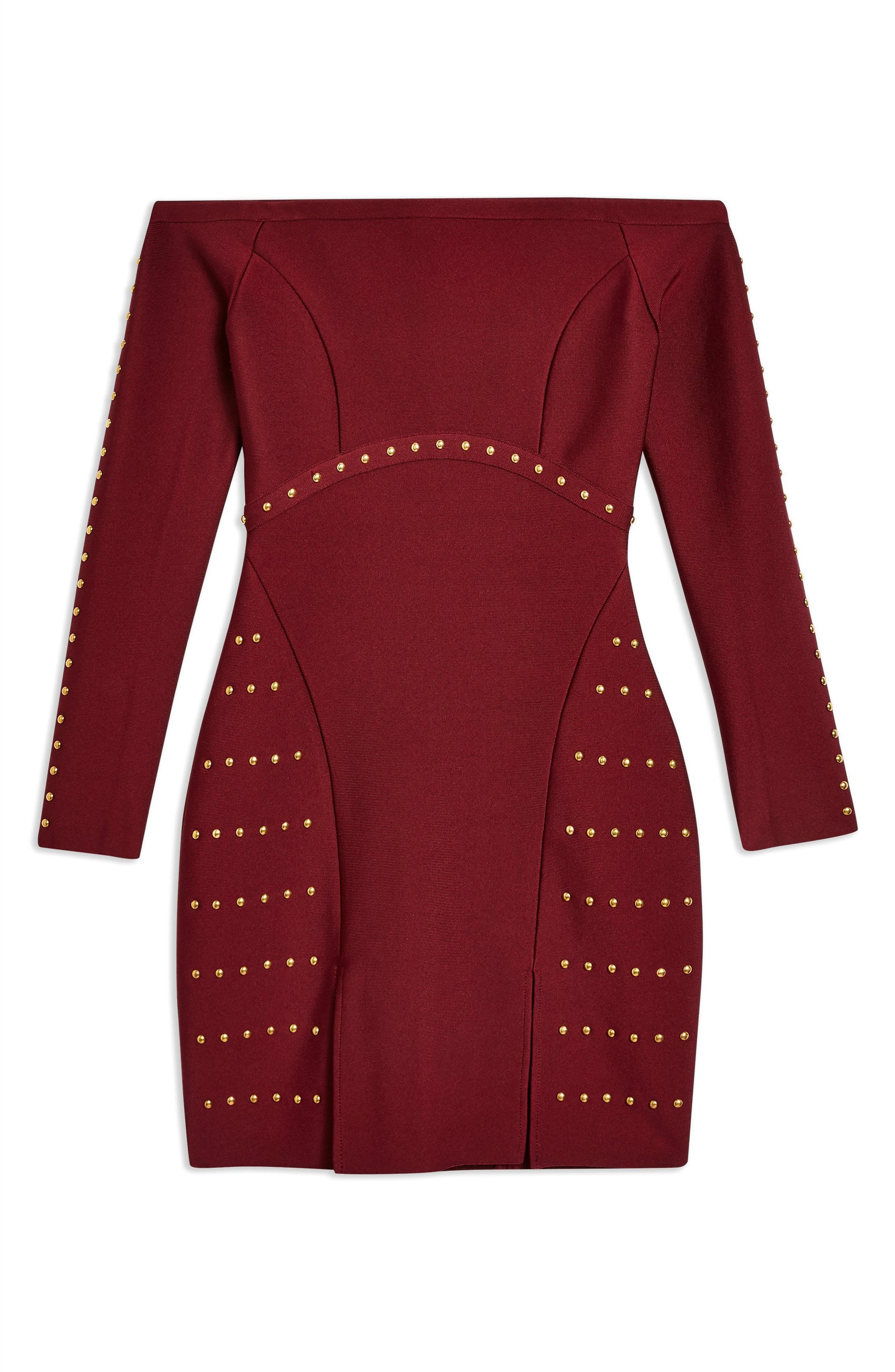 Studded Off the Shoulder Dress,                             Alternate thumbnail 3, color,                             RED