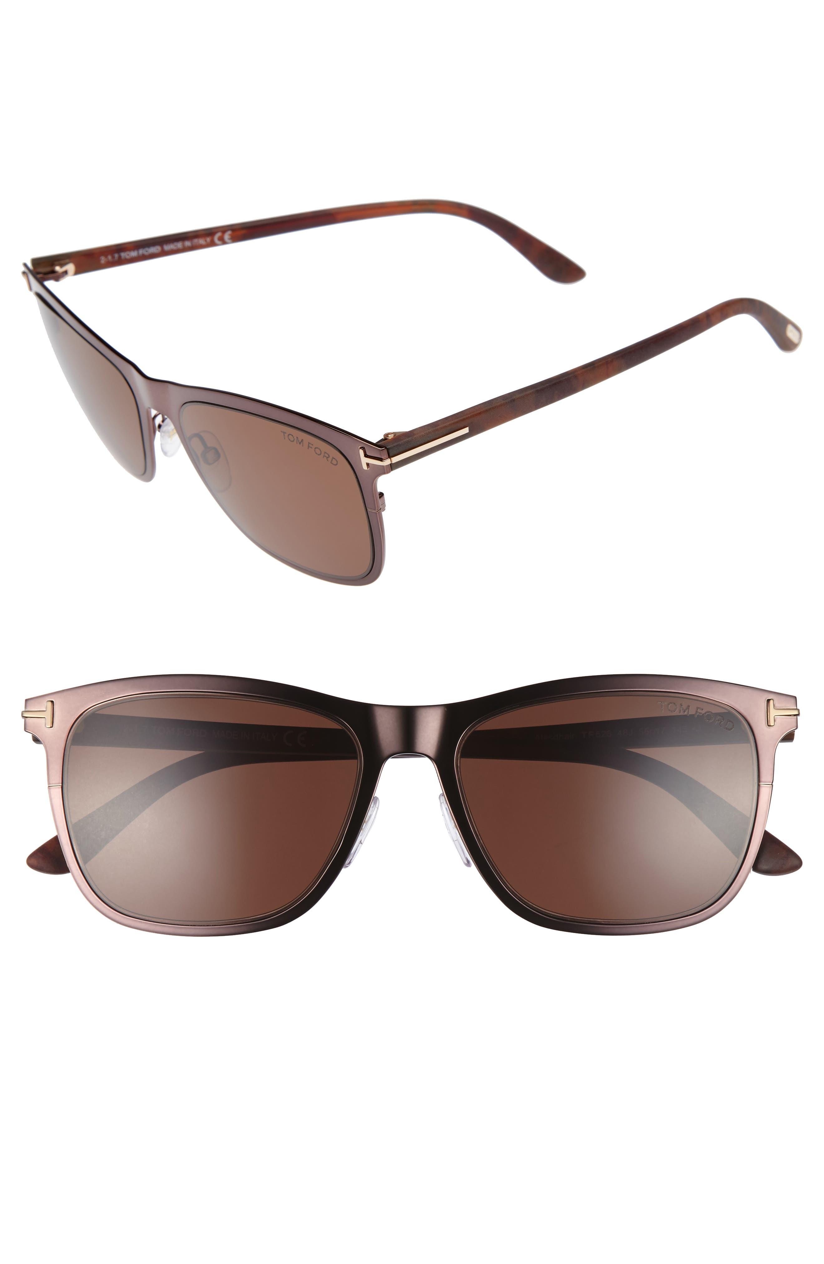 Alasdhair 55mm Sunglasses,                             Main thumbnail 1, color,                             SHINY DARK BROWN/ ROVIEX