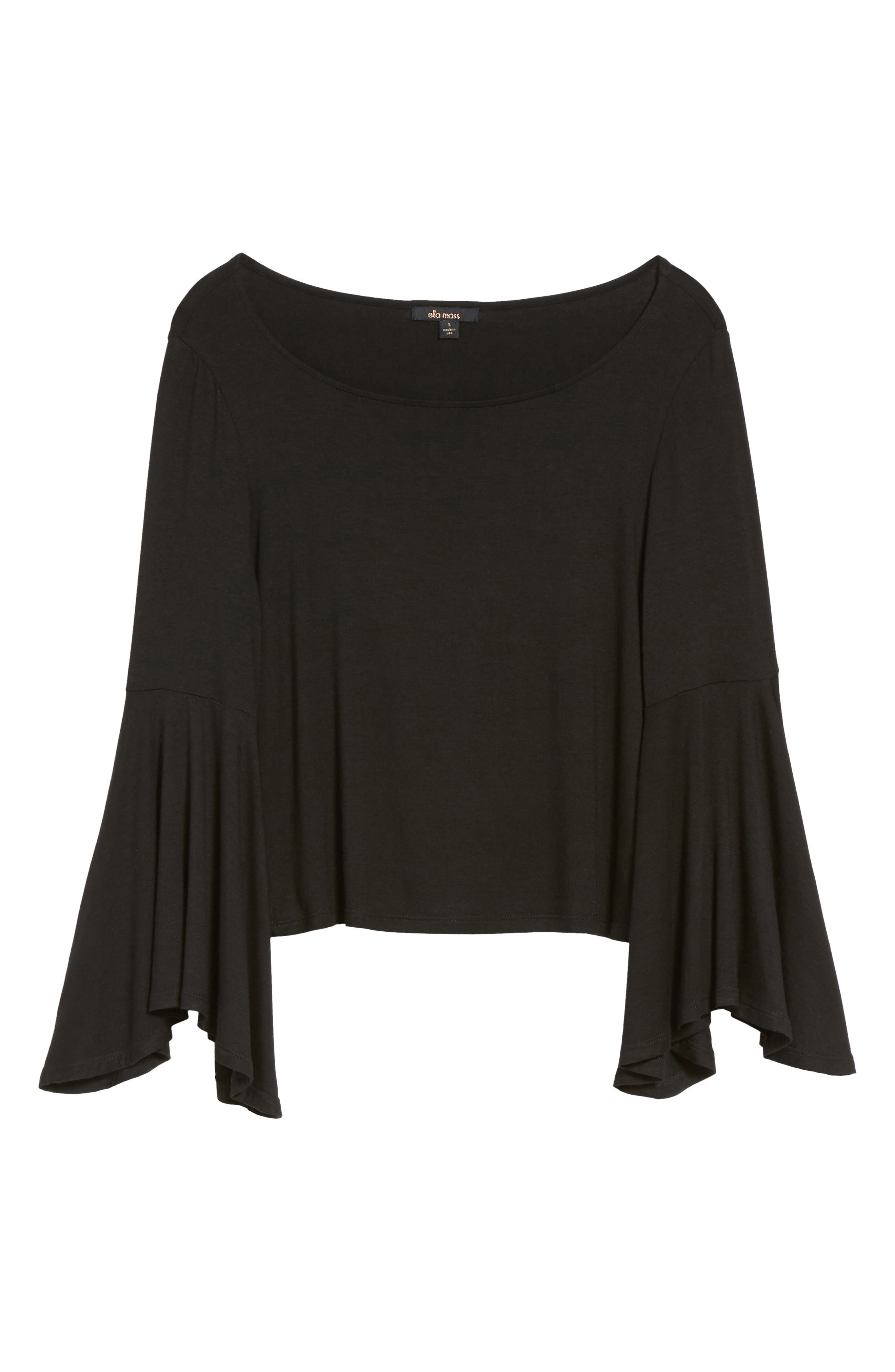 Bella Bell Sleeve Top,                             Alternate thumbnail 6, color,                             001
