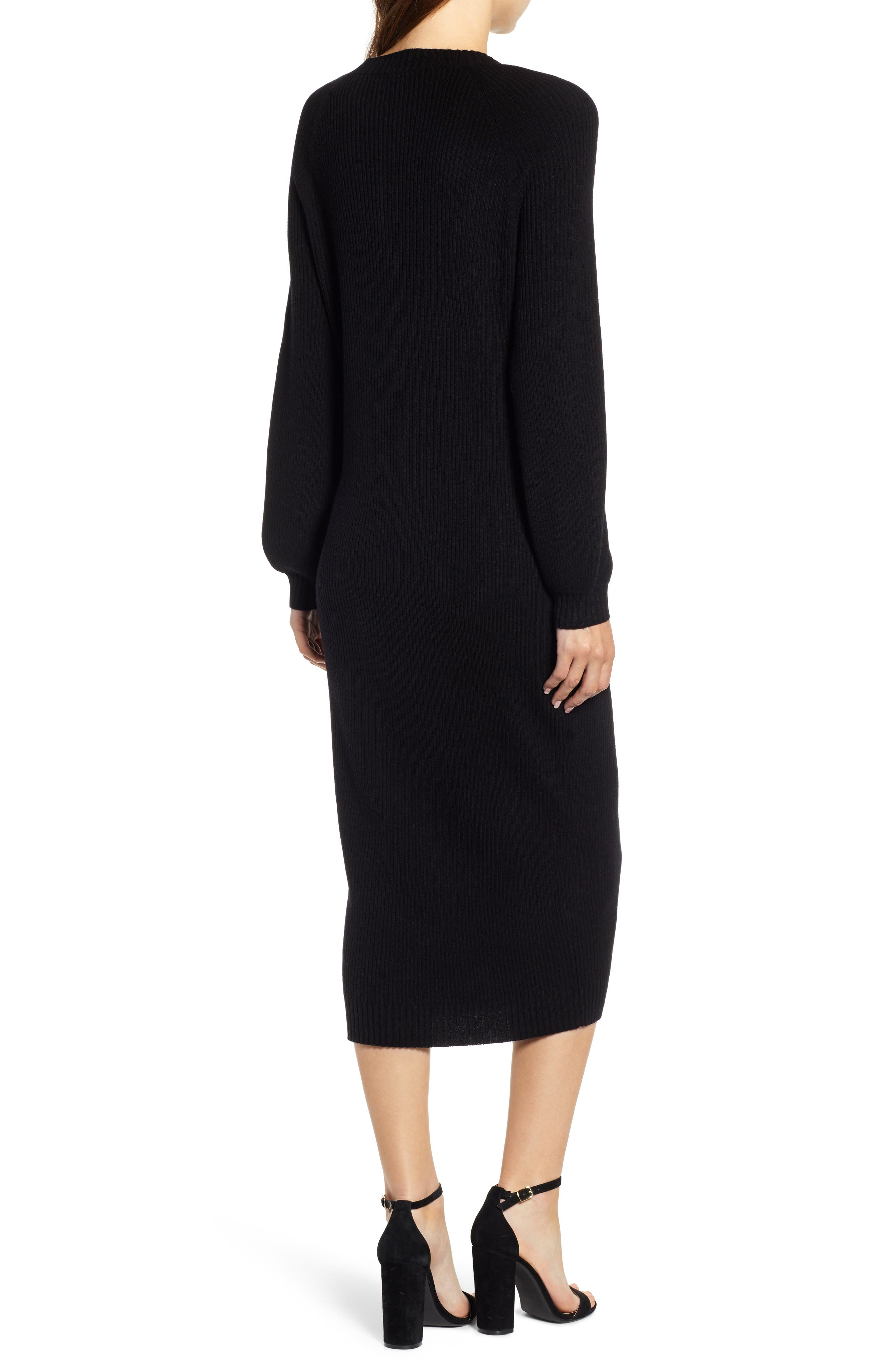 Quaid Knit Sweater Dress,                             Alternate thumbnail 2, color,                             TRUE BLACK