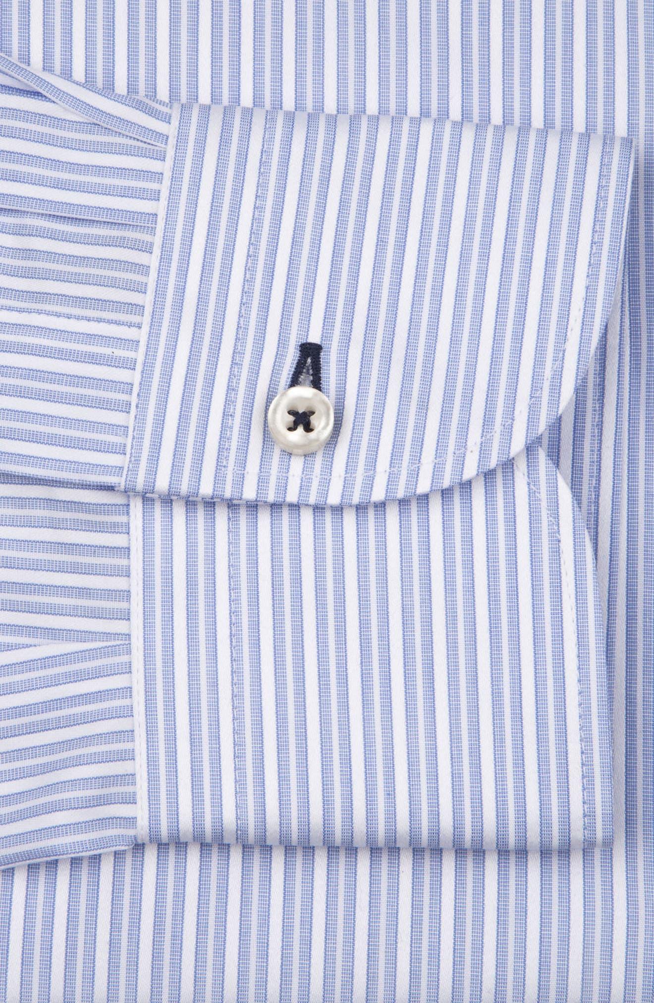 Regular Fit Stripe Dress Shirt,                             Alternate thumbnail 6, color,                             LIGHT BLUE