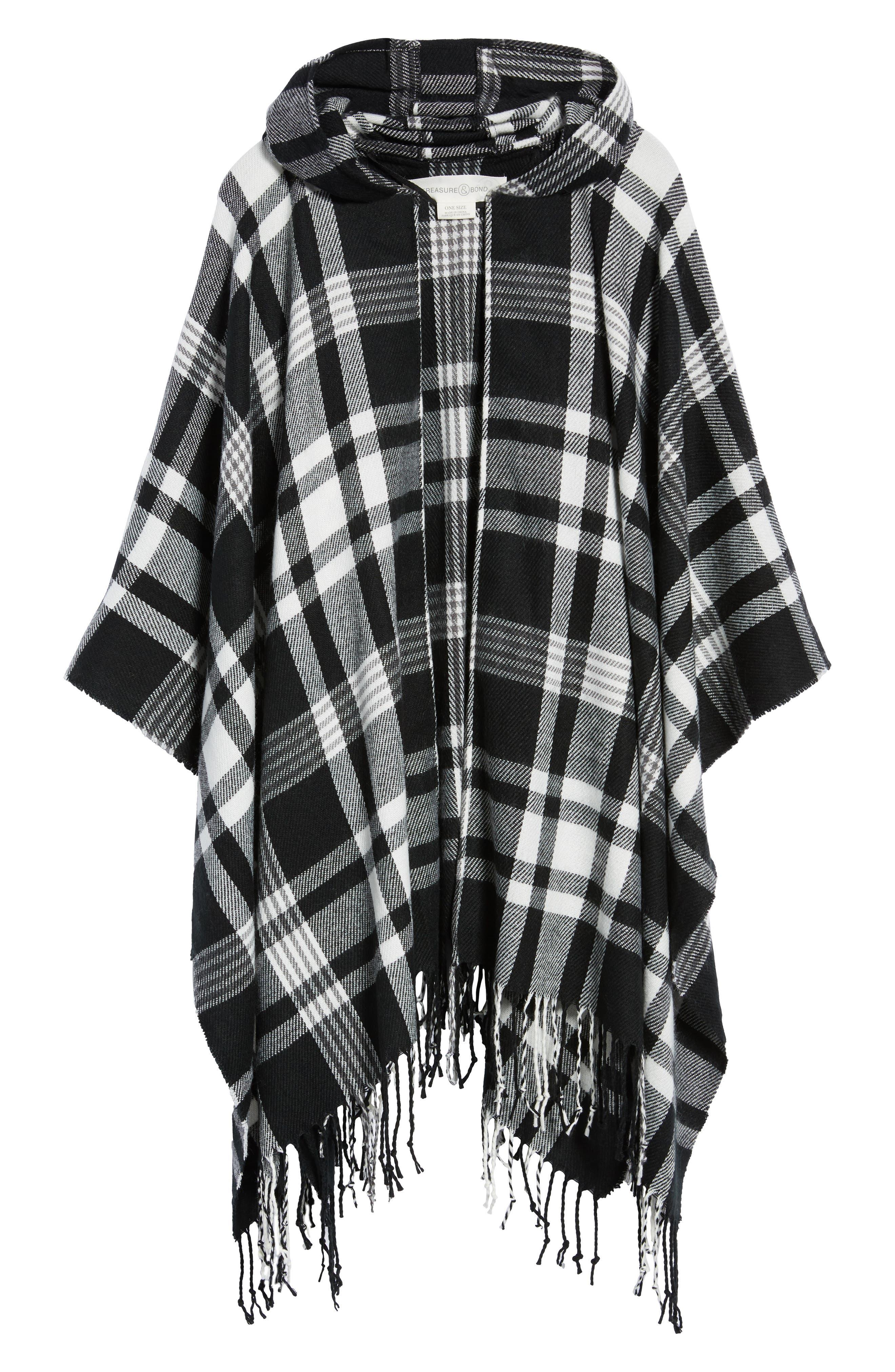 Plaid Hooded Poncho,                             Alternate thumbnail 6, color,                             BLACK COMBO