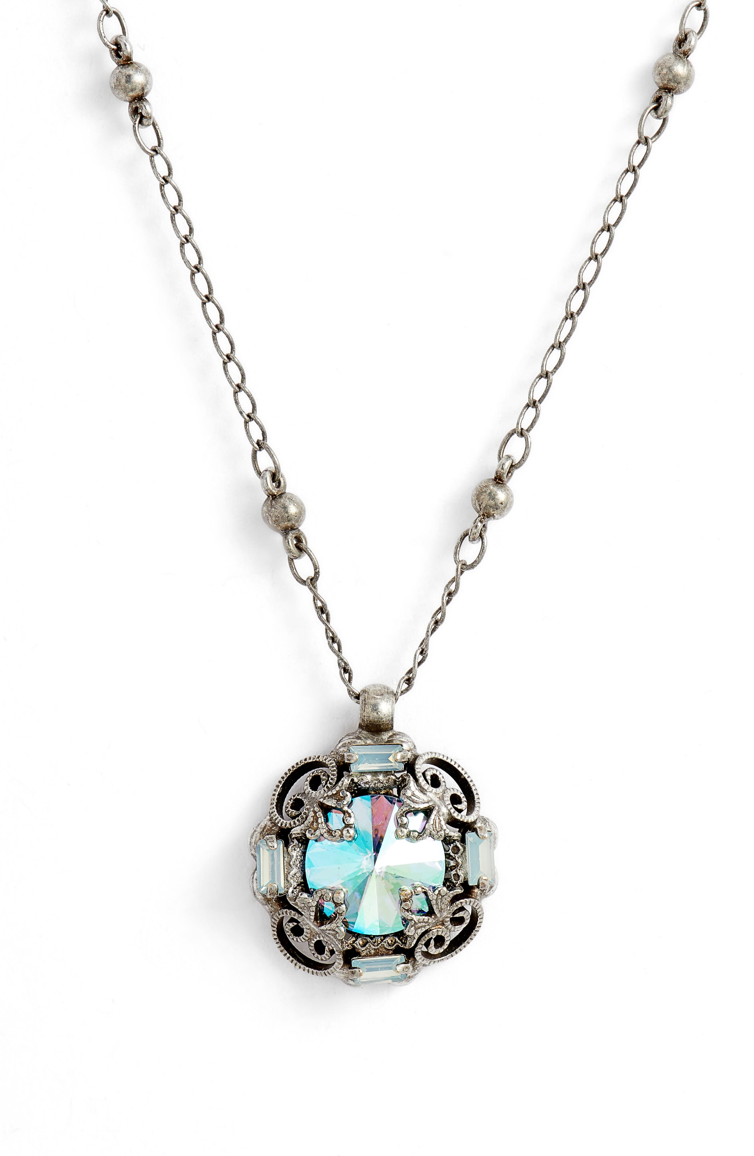 Allium Crystal Necklace,                             Main thumbnail 1, color,