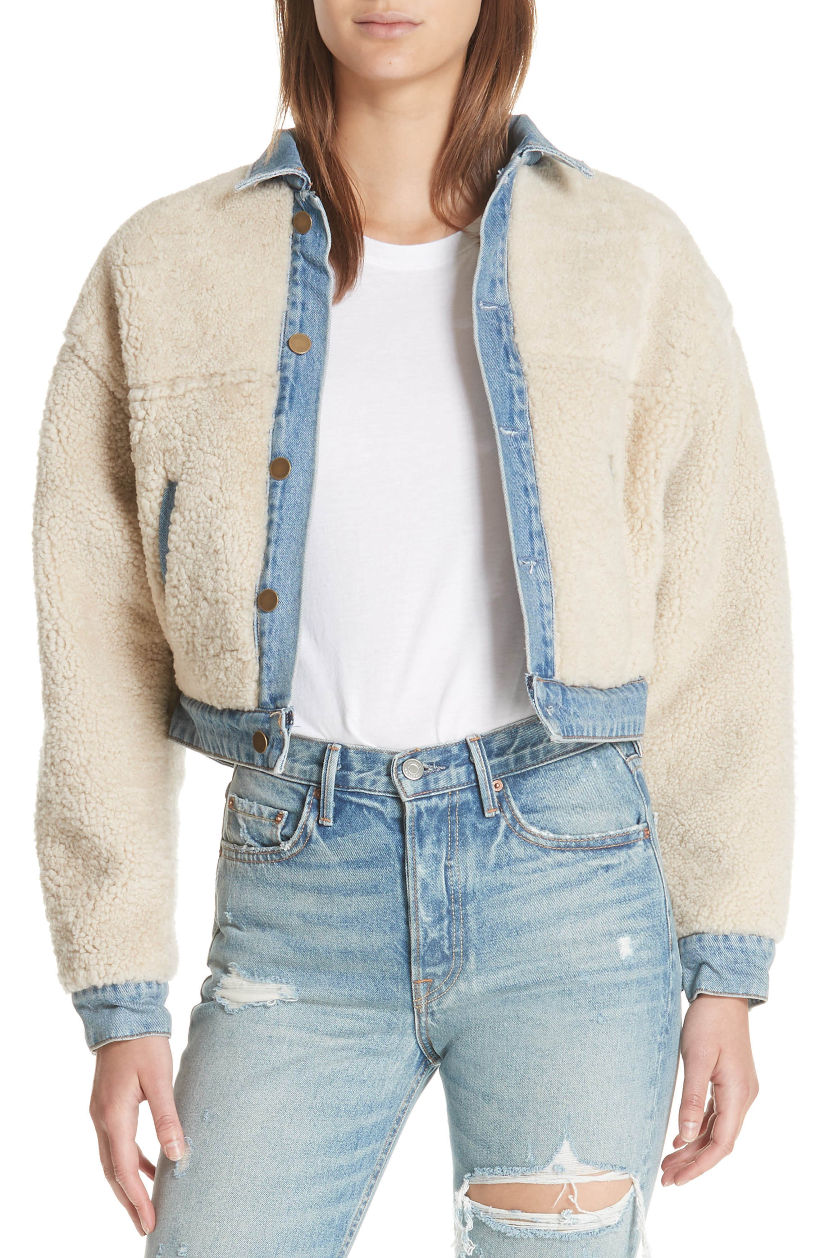 Grlfrnd Sarai Reversible Genuine Shearling & Denim Jacket, White
